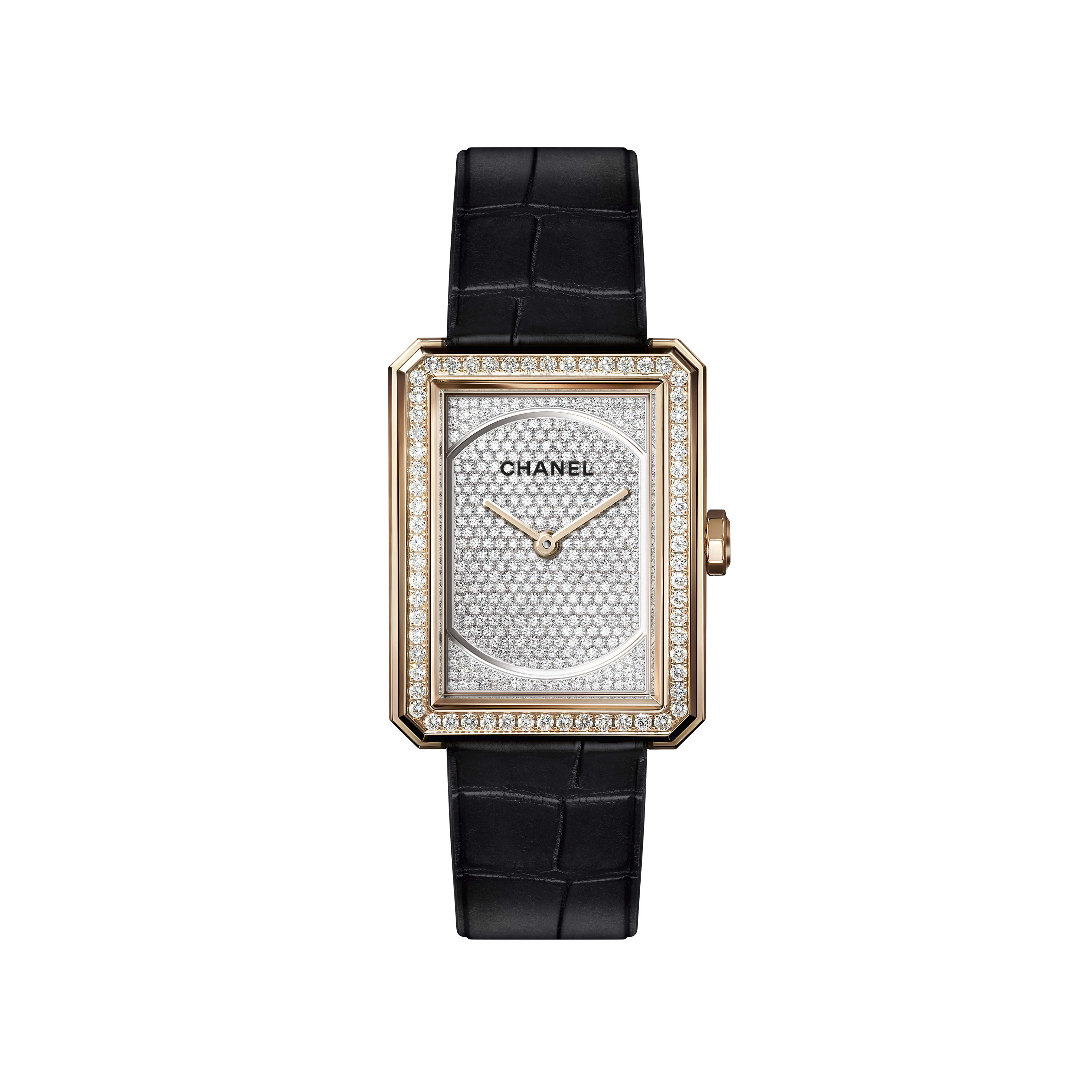 BOY·FRIEND Watch - Medium version, BEIGE GOLD and diamonds, alligator pattern calfskin strap - CHANEL - Default view - see standard sized version