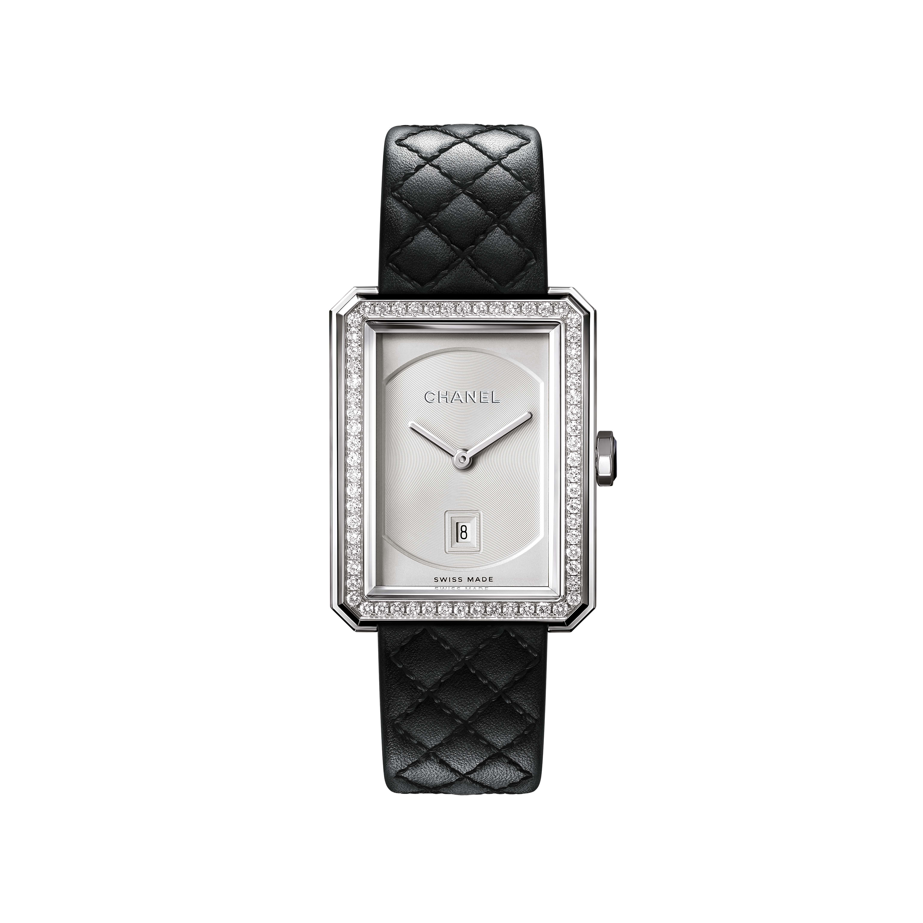 BOY·FRIEND Watch - Medium version, steel and diamonds, quilted pattern calfskin strap - CHANEL - Default view - see standard sized version