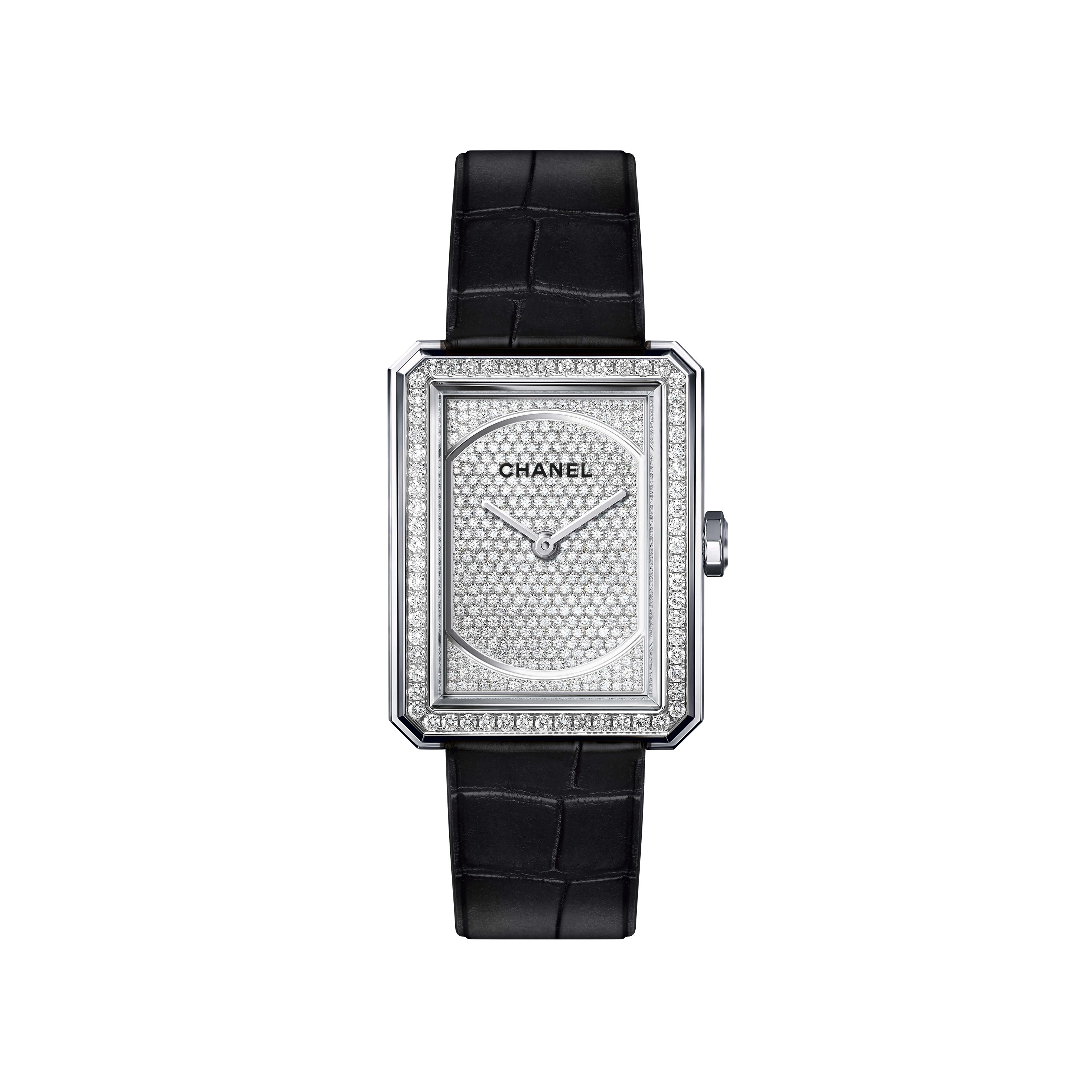 BOY·FRIEND Watch - Medium version, white gold and dial set with diamonds, alligator strap - CHANEL - Default view - see standard sized version