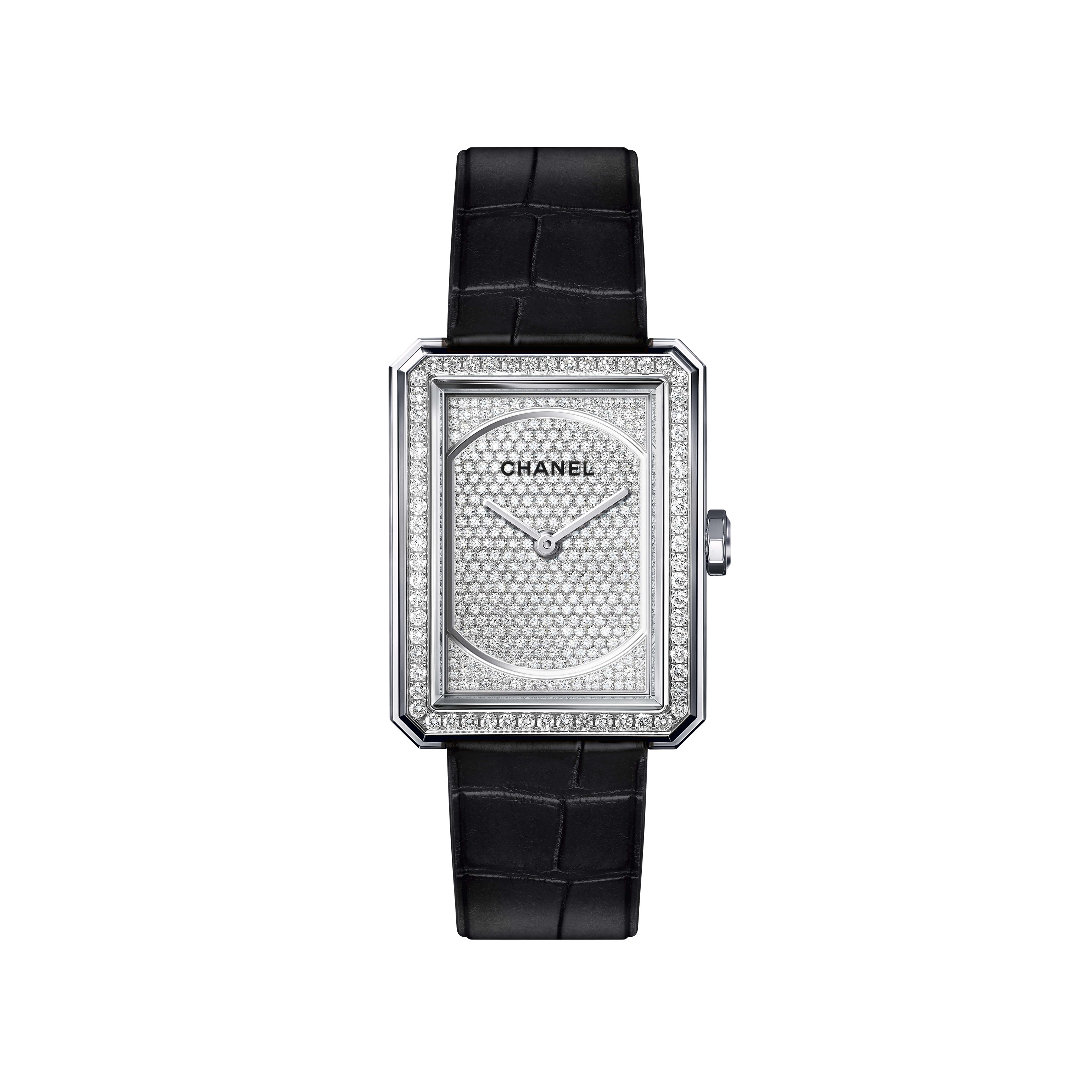 BOY·FRIEND Watch - Medium version, white gold and diamonds, alligator pattern calfskin strap - CHANEL - Default view - see standard sized version
