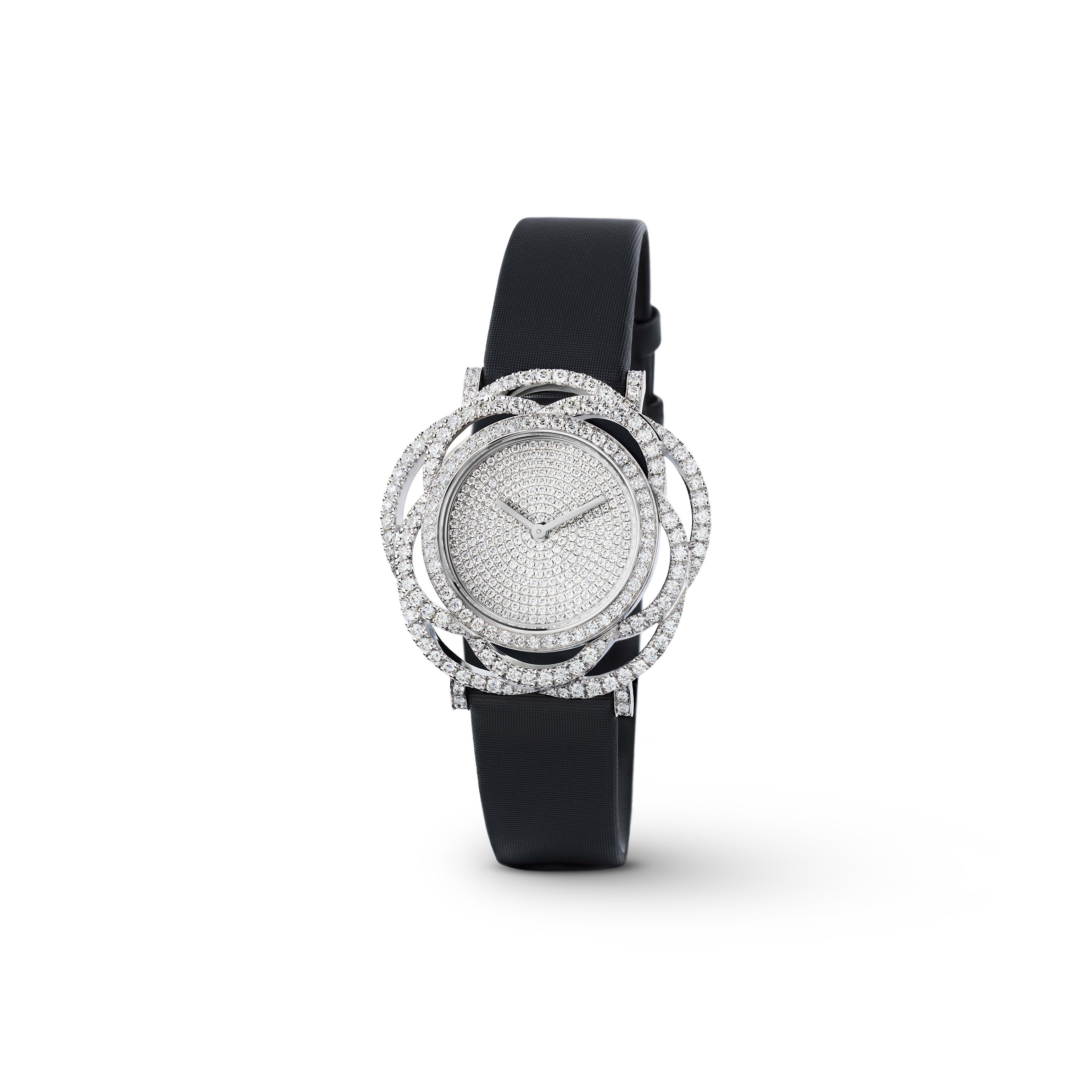 Camélia Jewellery Watch - Embroidered camellia motif in 18K white gold and diamonds with pavé dial - CHANEL - Default view - see standard sized version