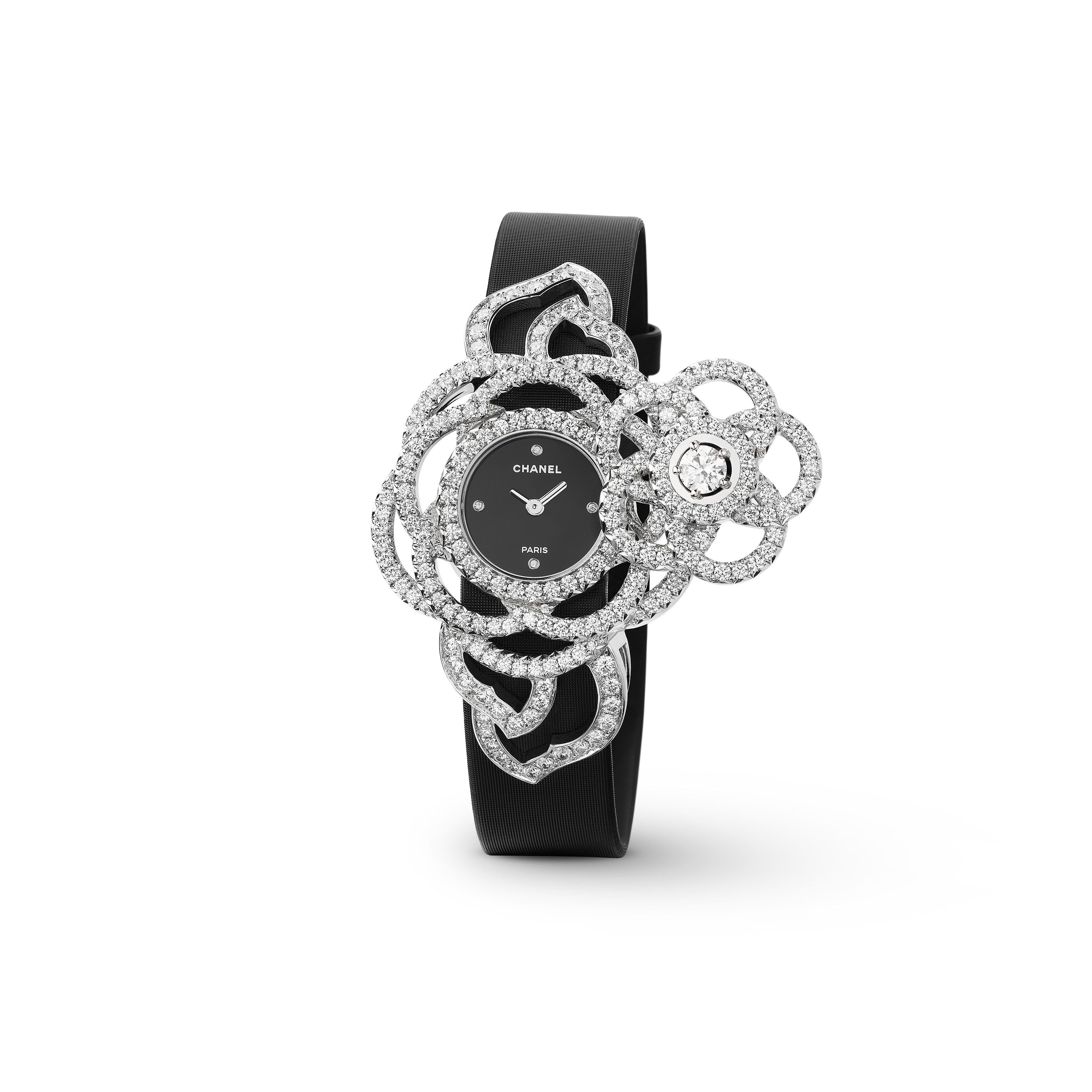 Camélia Jewellery Watch - Secret watch with Camélia Brodé motif in 18K white gold and diamonds. Large version. - CHANEL - Default view - see standard sized version
