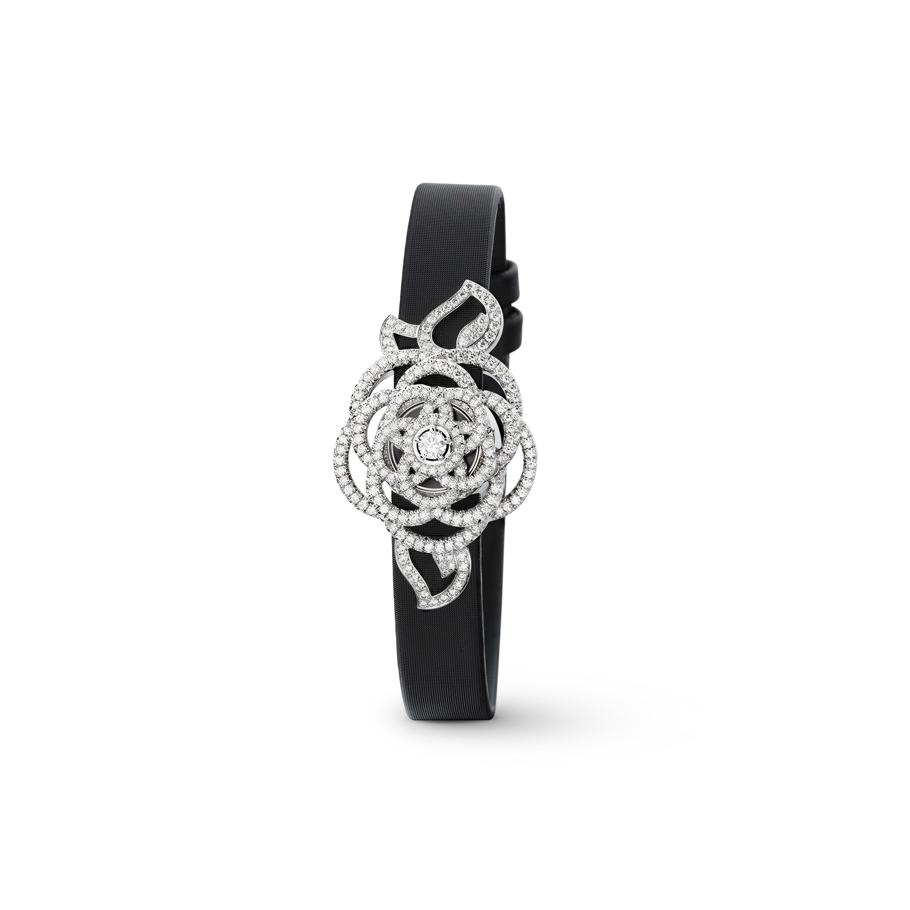 Camélia Jewellery Watch - Secret watch with Camélia Brodé motif in 18K white gold and diamonds. Medium version. - Other view - see standard sized version