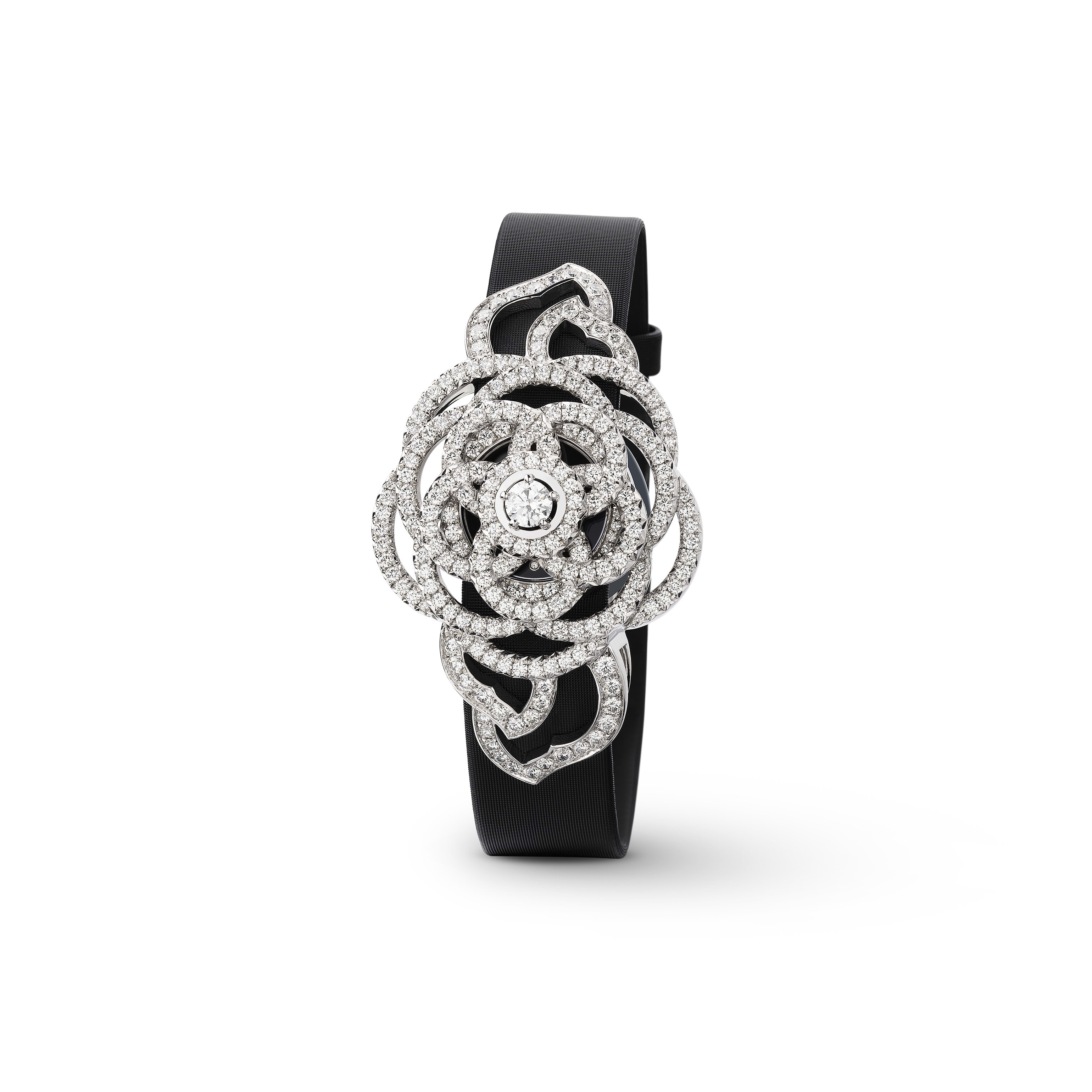 Camélia Jewellery Watch - Secret watch with Camélia Brodé motif in 18K white gold and diamonds. Large version. - CHANEL - Other view - see standard sized version