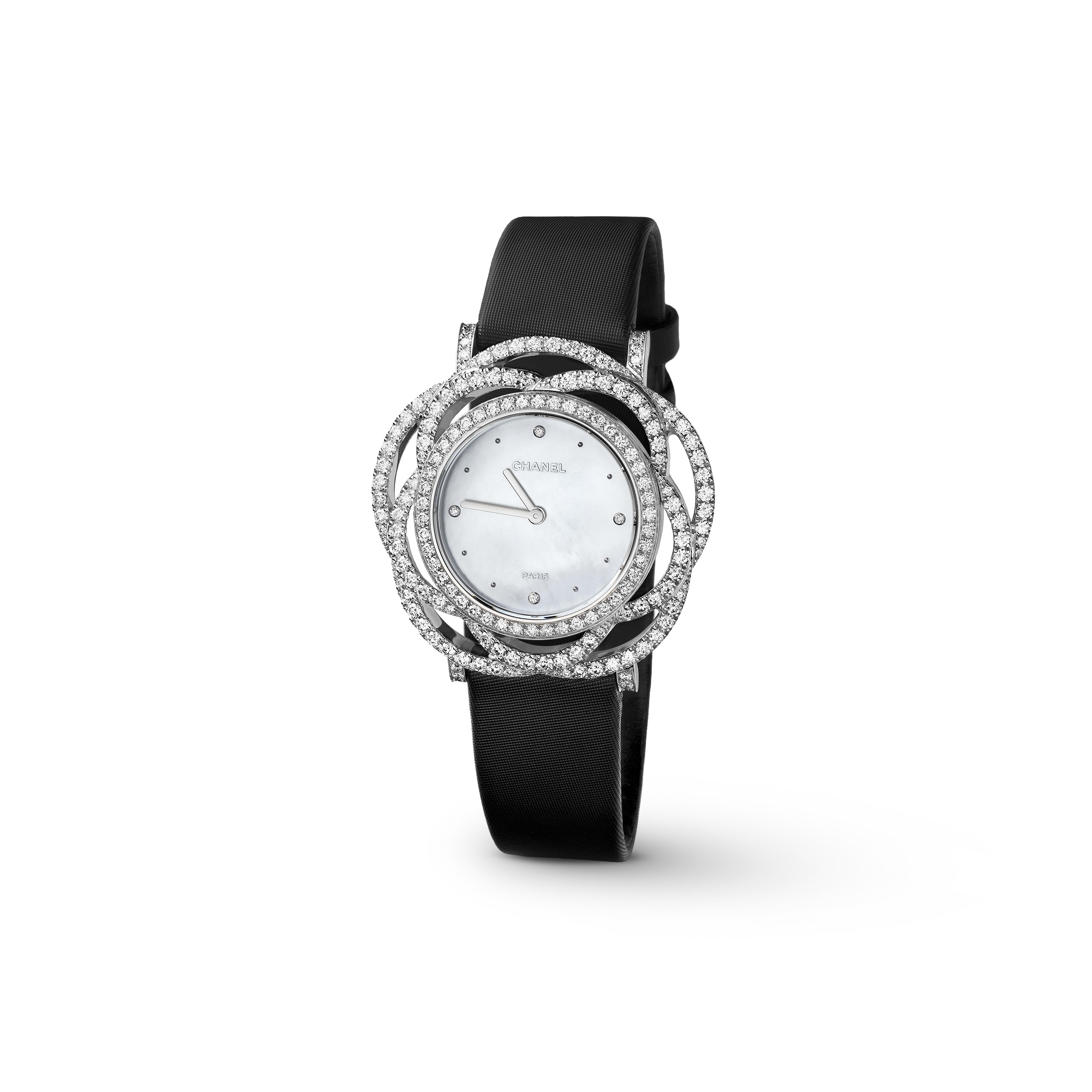 Camélia Jewellery Watch - Camélia brodé motif in 18K white gold and diamonds - CHANEL - Default view - see standard sized version