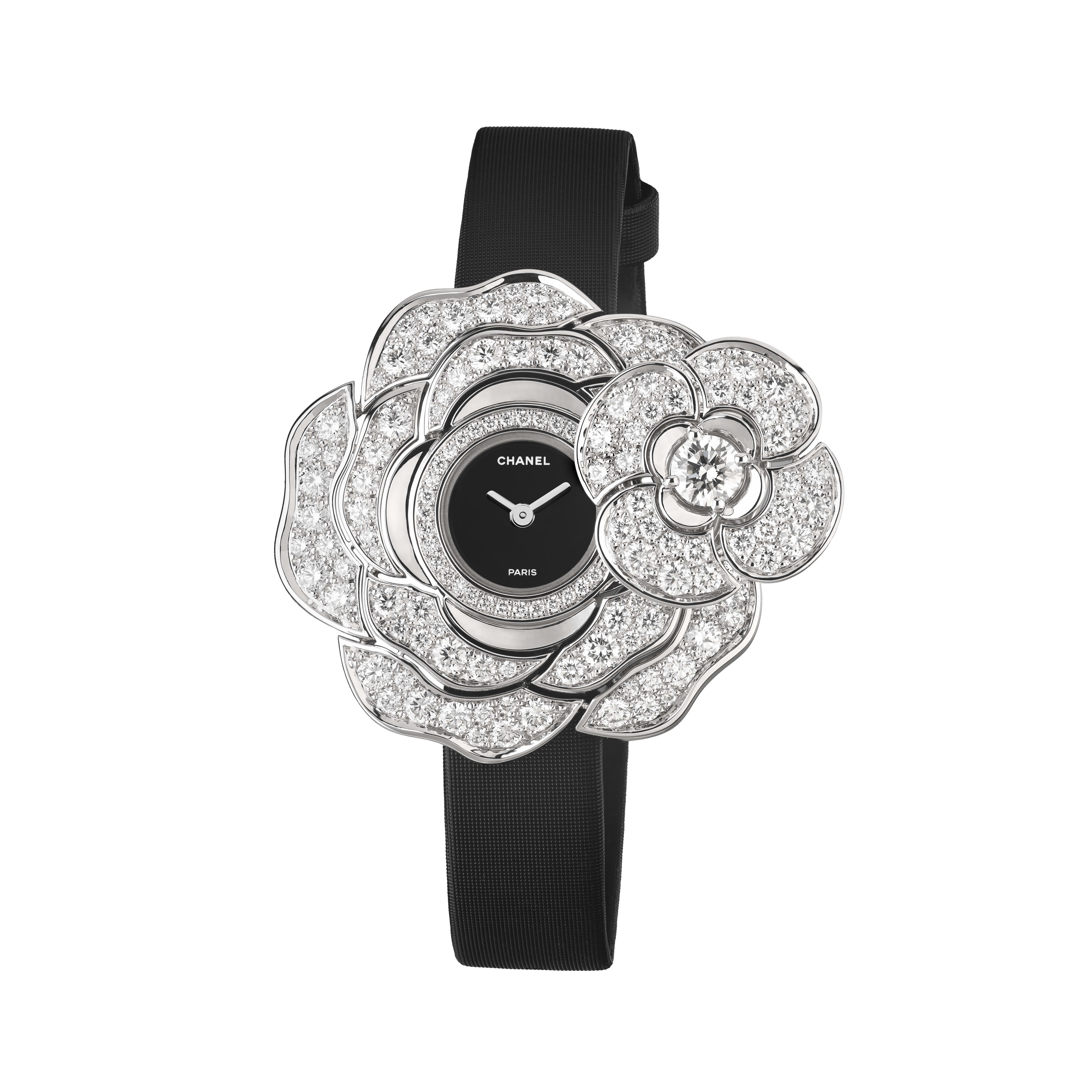 Camélia Jewellery Watch - Secret watch with camellia motif in 18K white gold and diamonds - Default view - see standard sized version