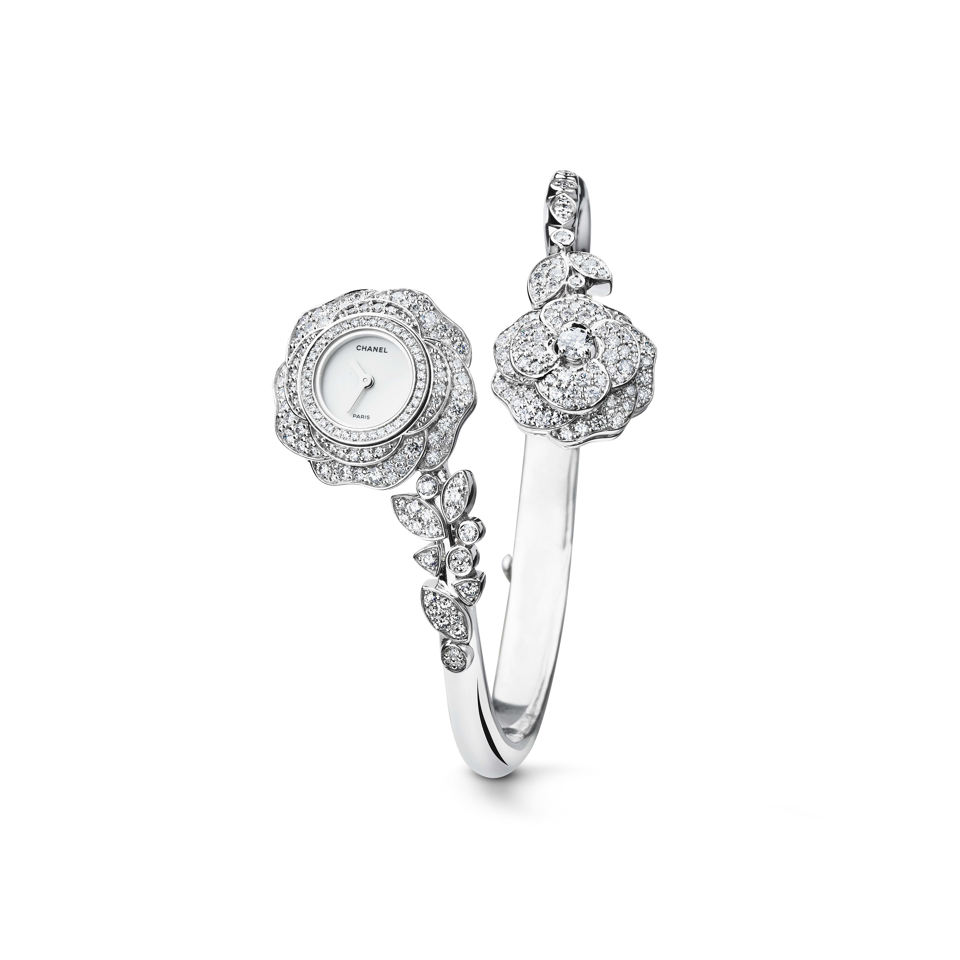 Camélia Jewellery Watch - Camellia bud motif in 18K white gold and diamonds - CHANEL - Default view - see standard sized version