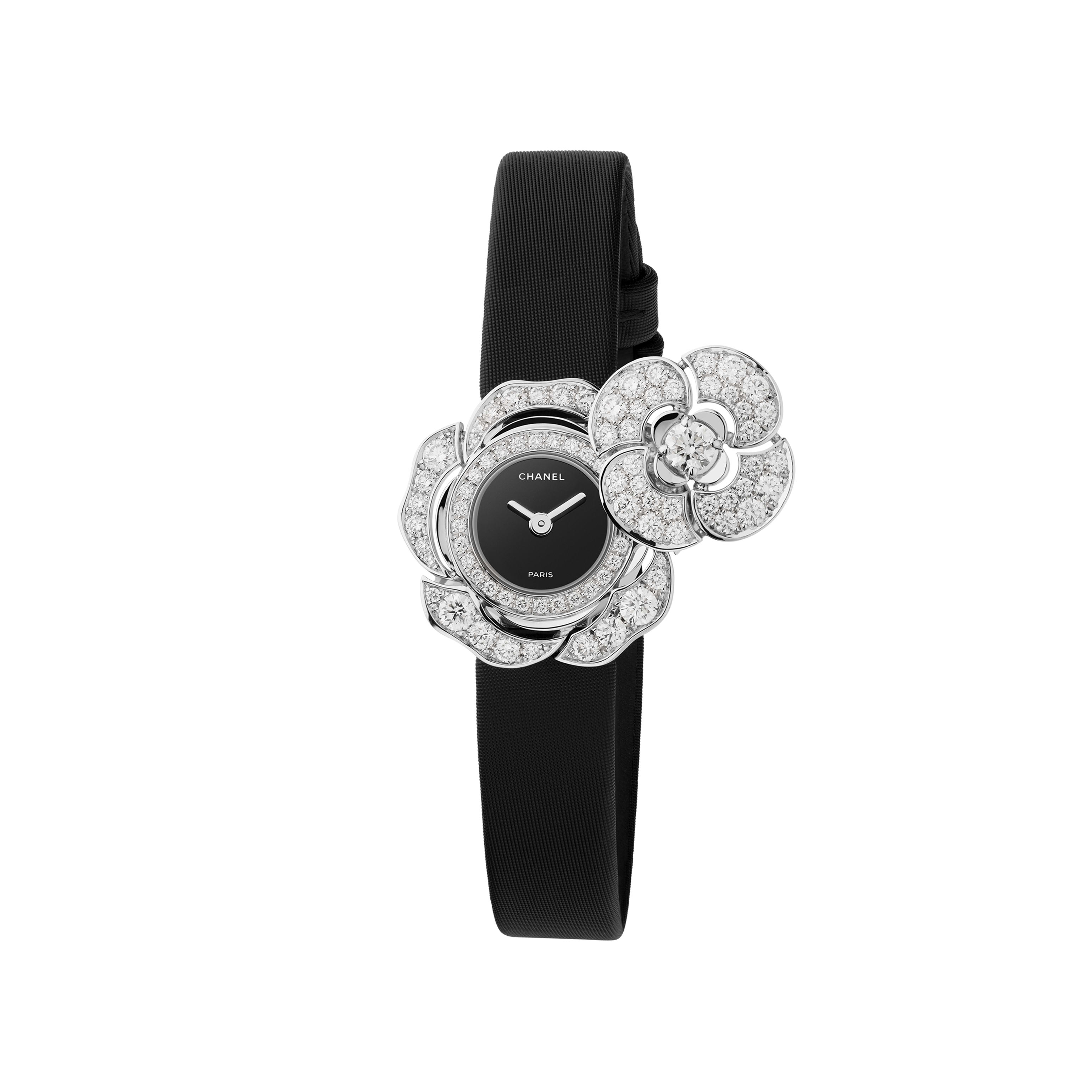 Camélia Jewellery Watch - Secret watch with camellia motif in 18K white gold and diamonds - CHANEL - Default view - see standard sized version