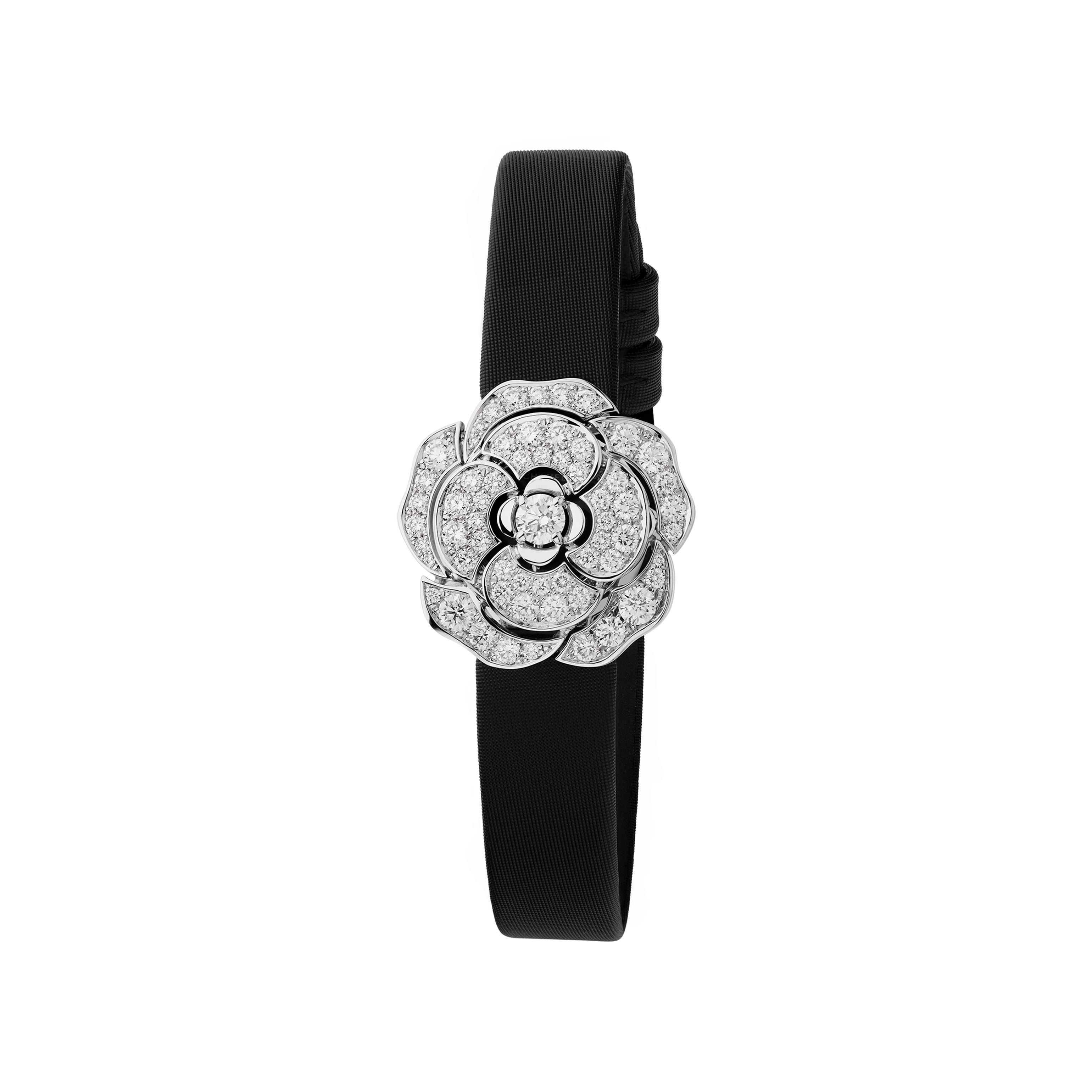 Camélia Jewellery Watch - Secret watch with camellia motif in 18K white gold and diamonds - CHANEL - Other view - see standard sized version