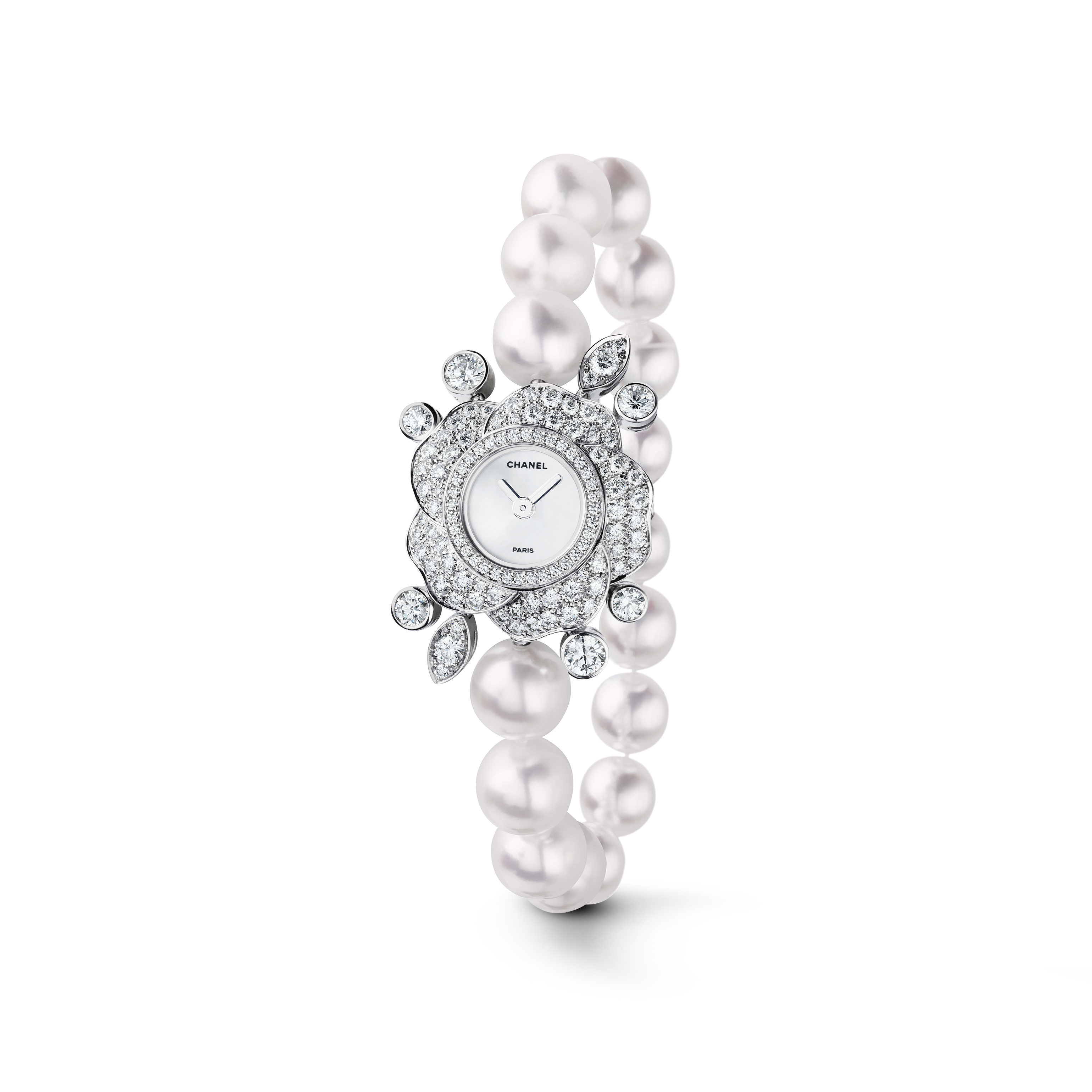 Camélia Jewellery Watch - Pétales de Camélias motif in 18K white gold, diamonds and cultured pearls - CHANEL - Default view - see standard sized version