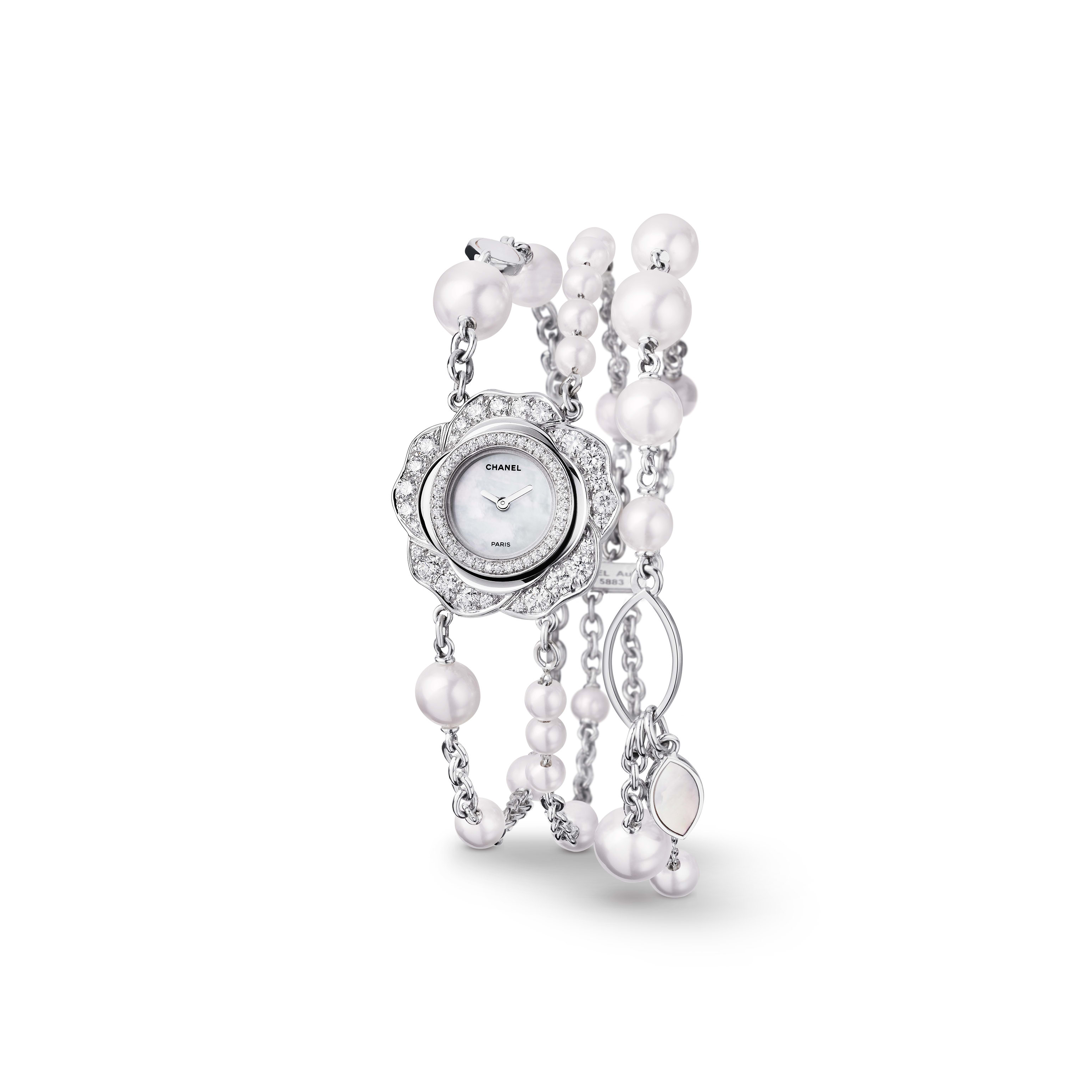 Camélia Jewellery Watch - Watch with Bouton de Camélia motif in 18K white gold, diamonds and cultured pearls - Default view - see standard sized version
