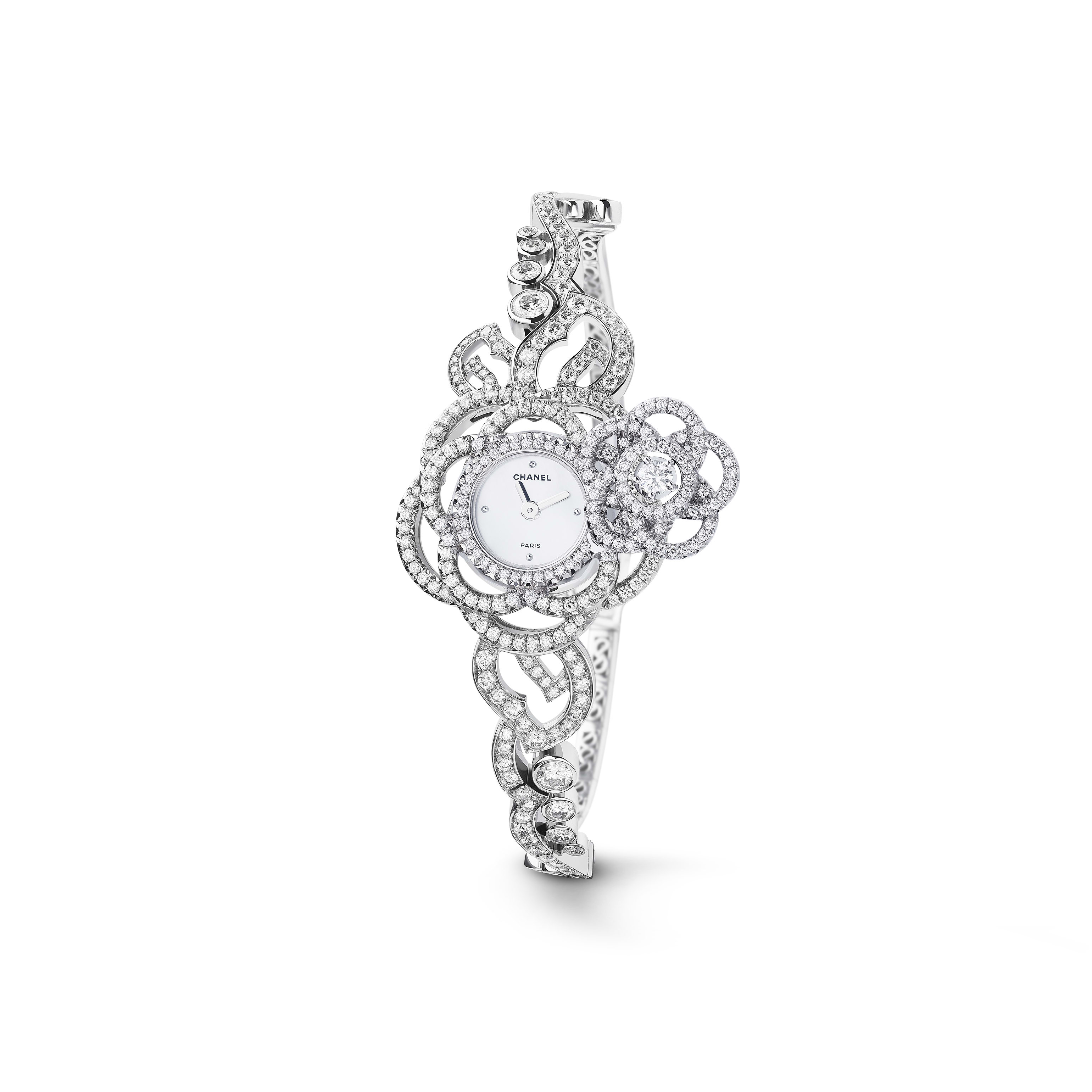 Camélia Jewellery Watch - Secret watch with Camélia Brodé motif in 18K white gold, diamonds and diamond bracelet. Medium version. - CHANEL - Default view - see standard sized version