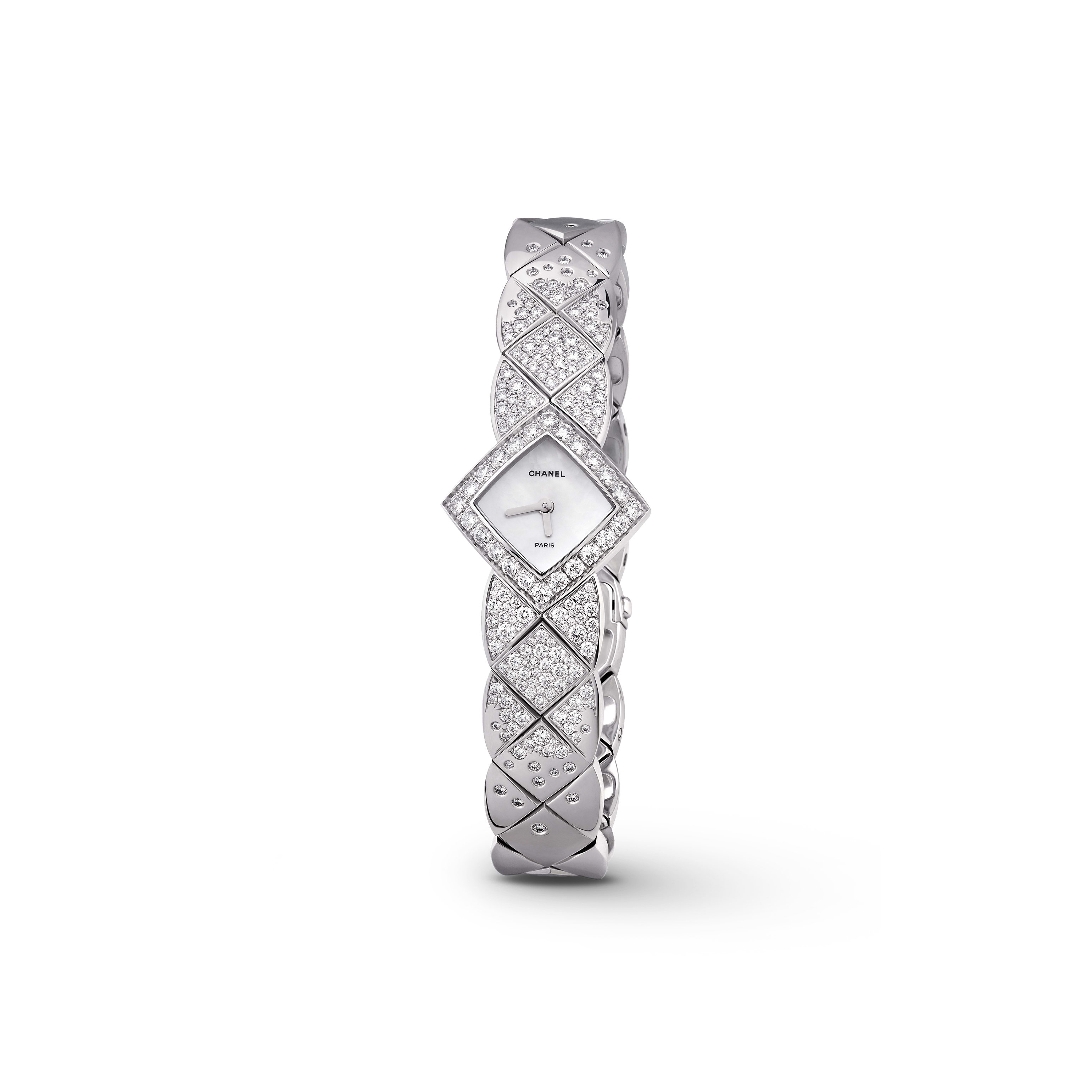 Coco Crush Jewellery Watch - Quilted motif in 18K white gold and diamonds - Default view - see standard sized version