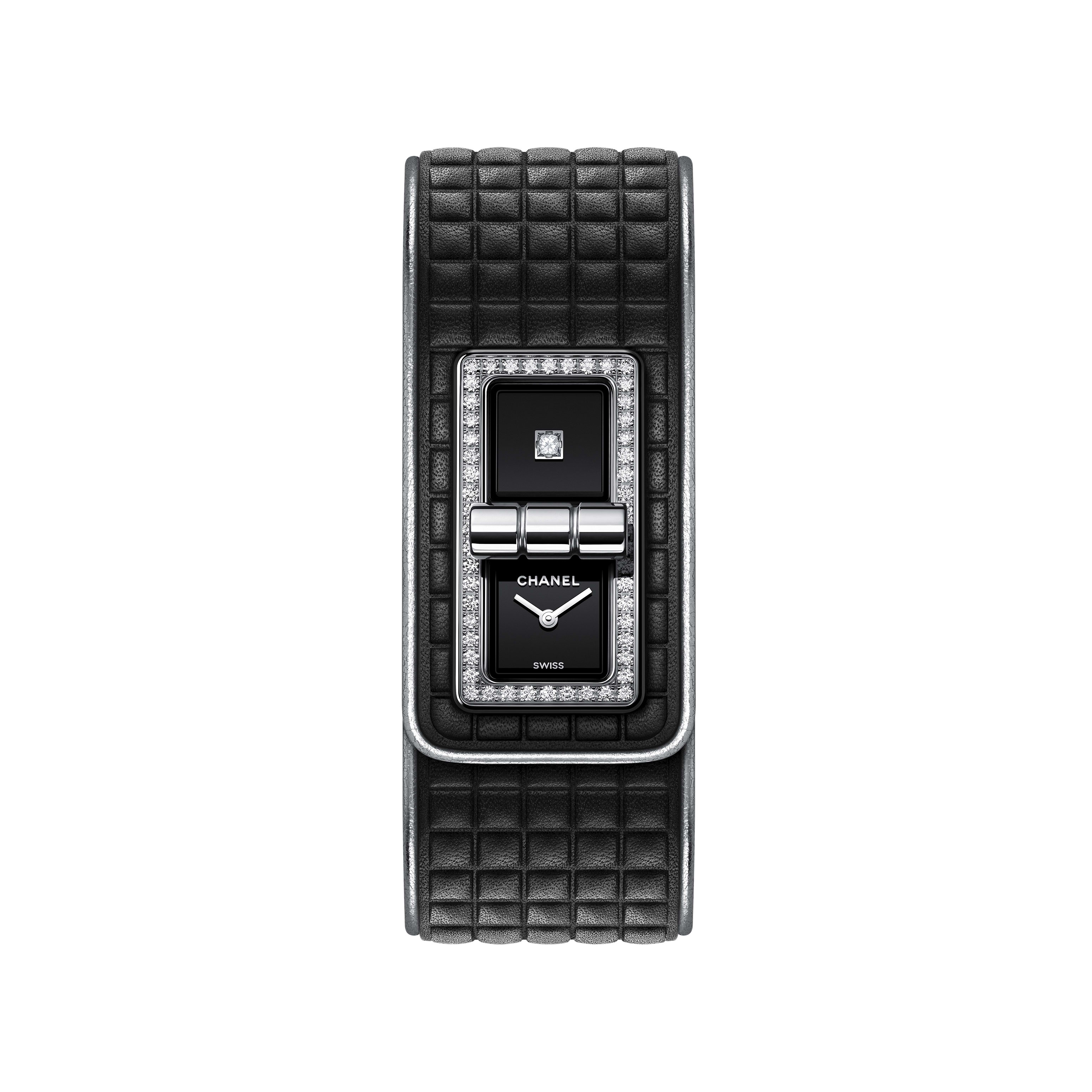 CODE COCO Leather Watch - Black calfskin leather, steel and diamonds - CHANEL - Default view - see standard sized version