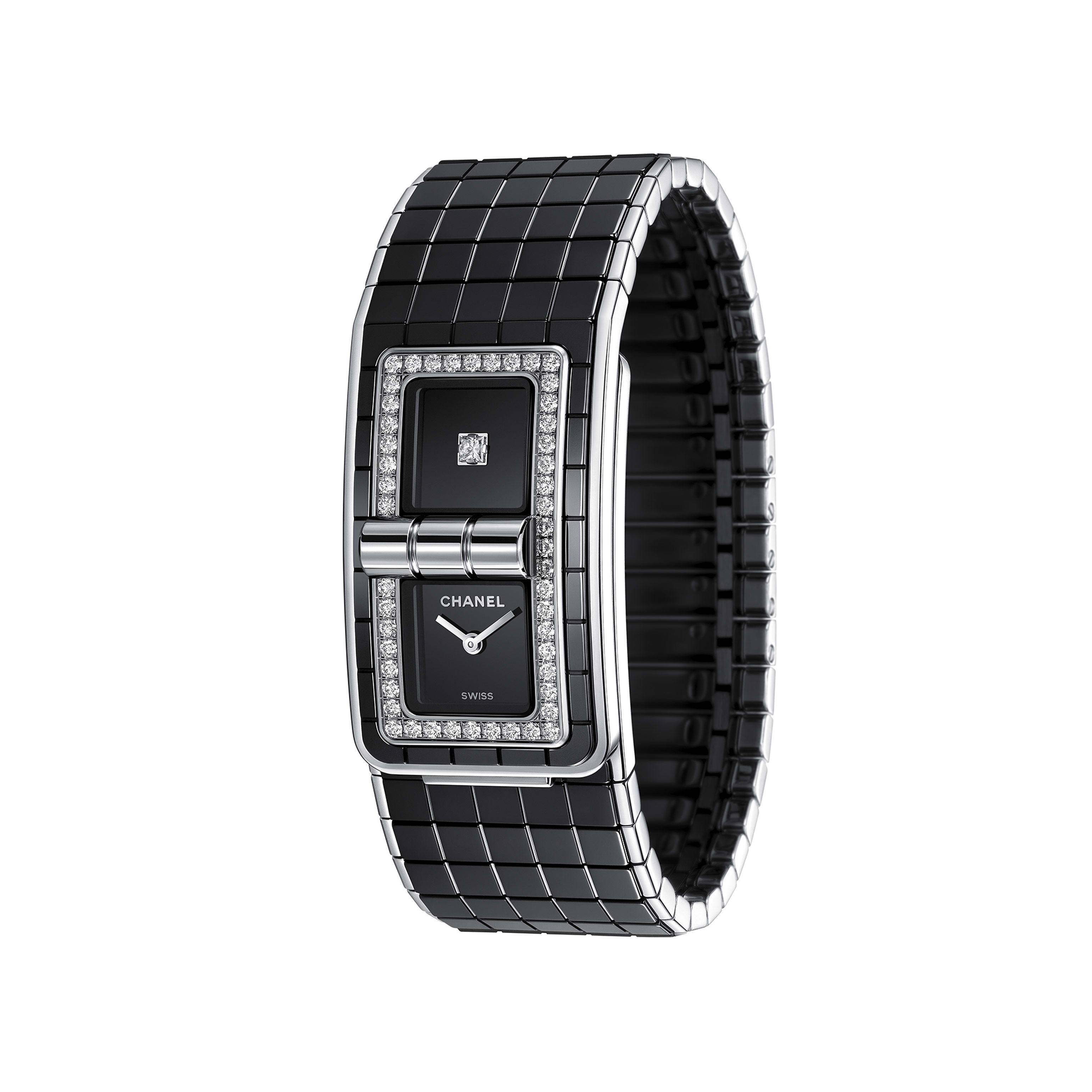 CODE COCO Watch - Steel & highly resistant ceramic, set with diamonds - CHANEL - Other view - see standard sized version