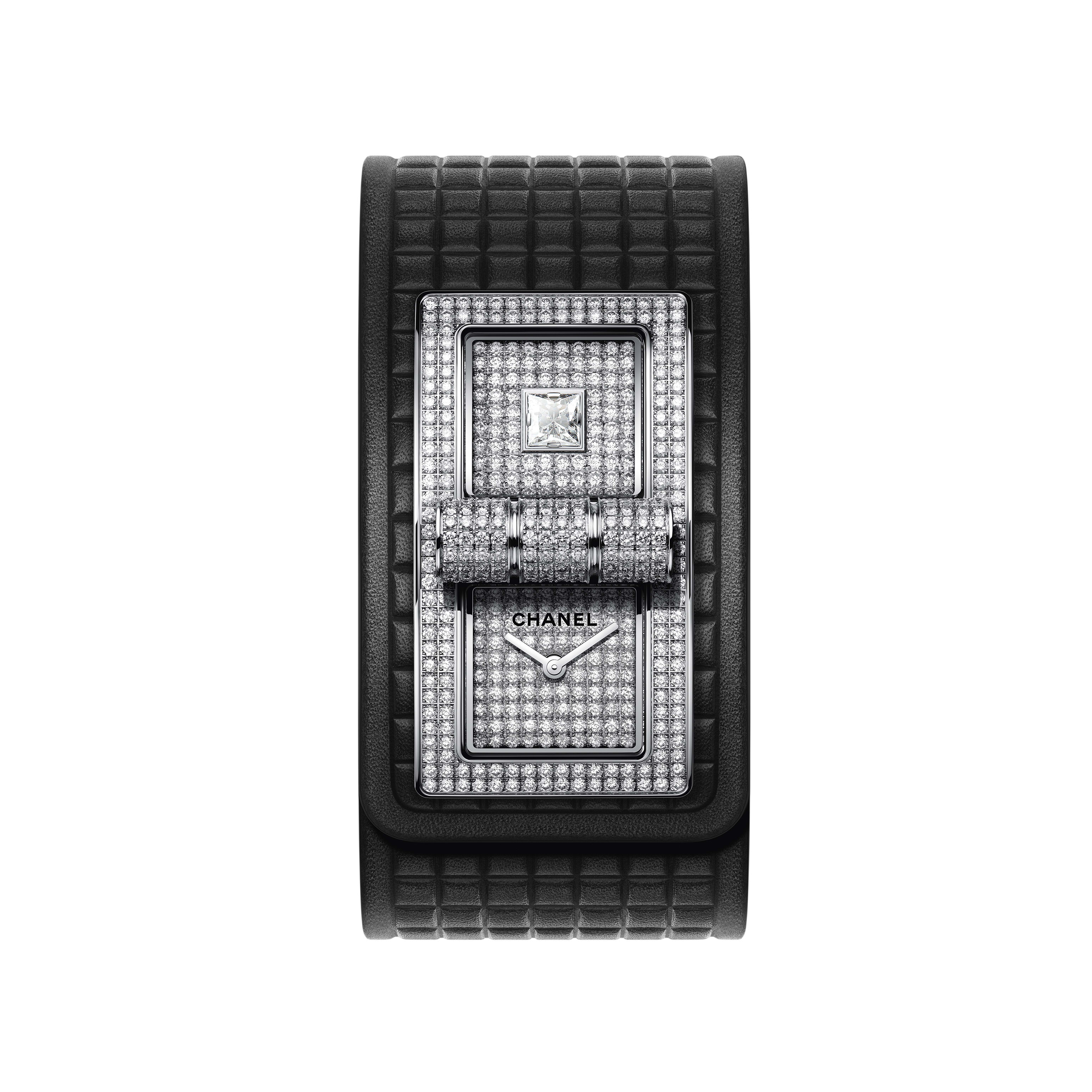 CODE COCO Watch - 18K white gold set with diamonds and black calfskin strap - Default view - see standard sized version