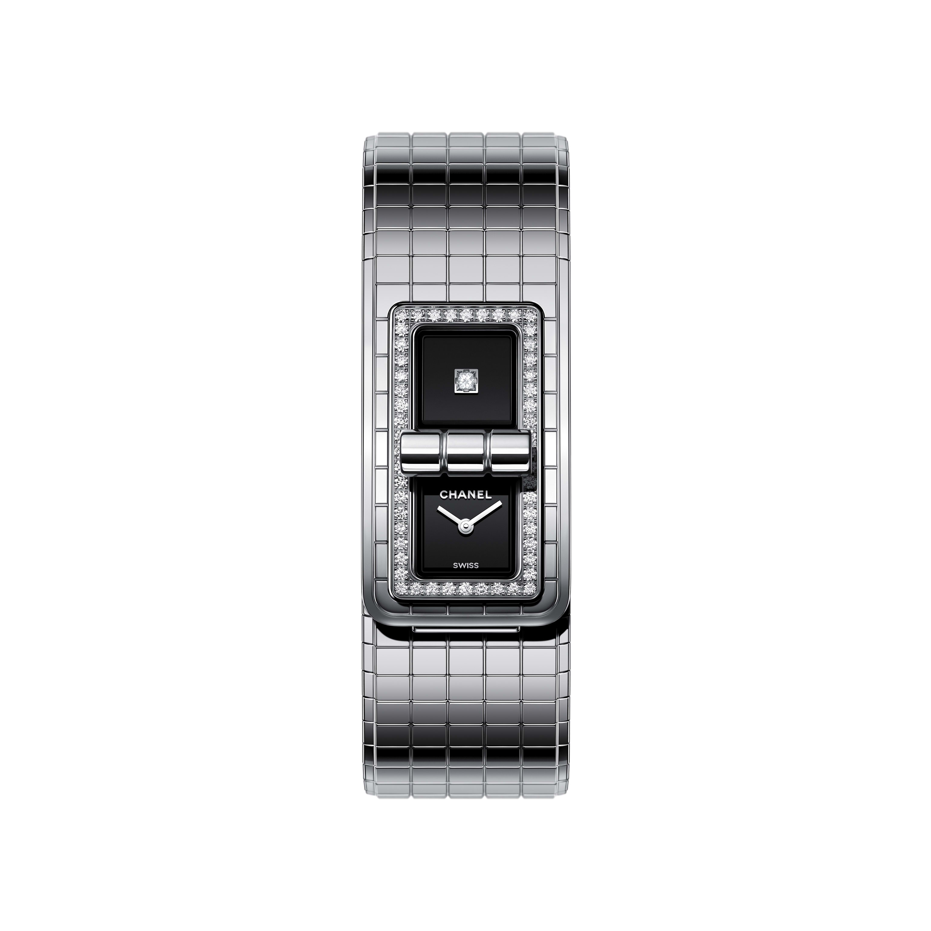 CODE COCO Watch - Steel set with diamonds - CHANEL - Default view - see standard sized version