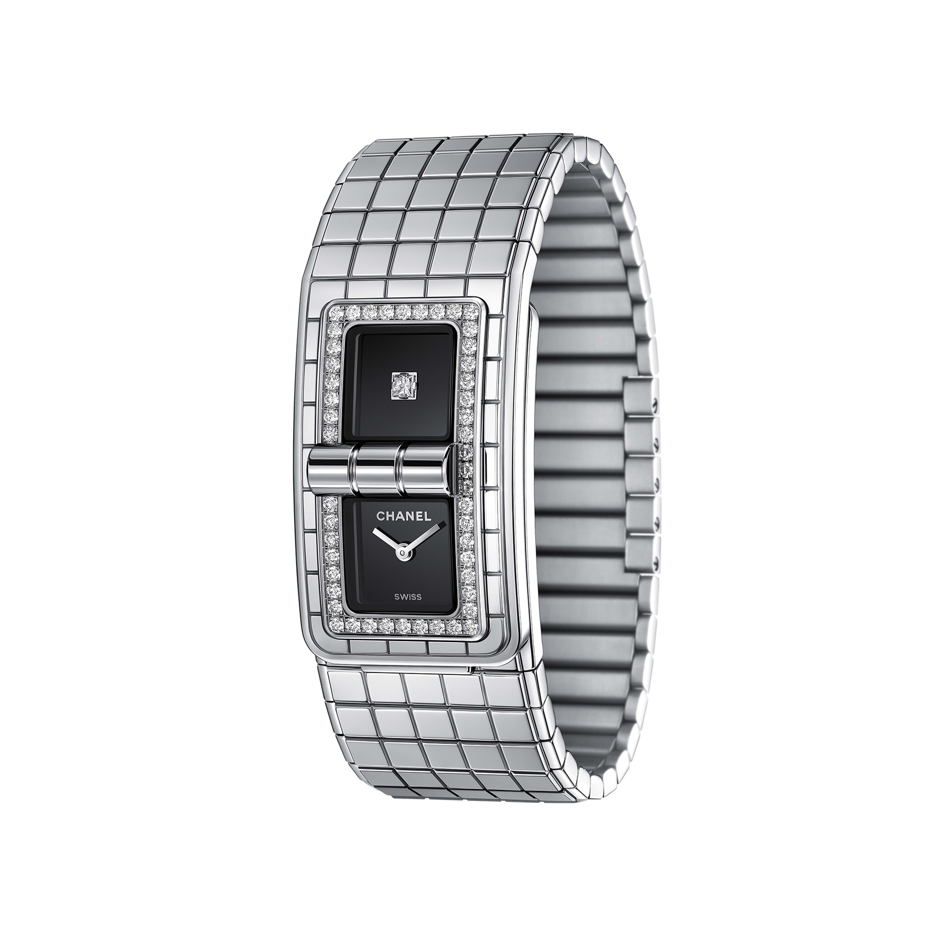 CODE COCO Watch - Steel set with diamonds - CHANEL - Other view - see standard sized version