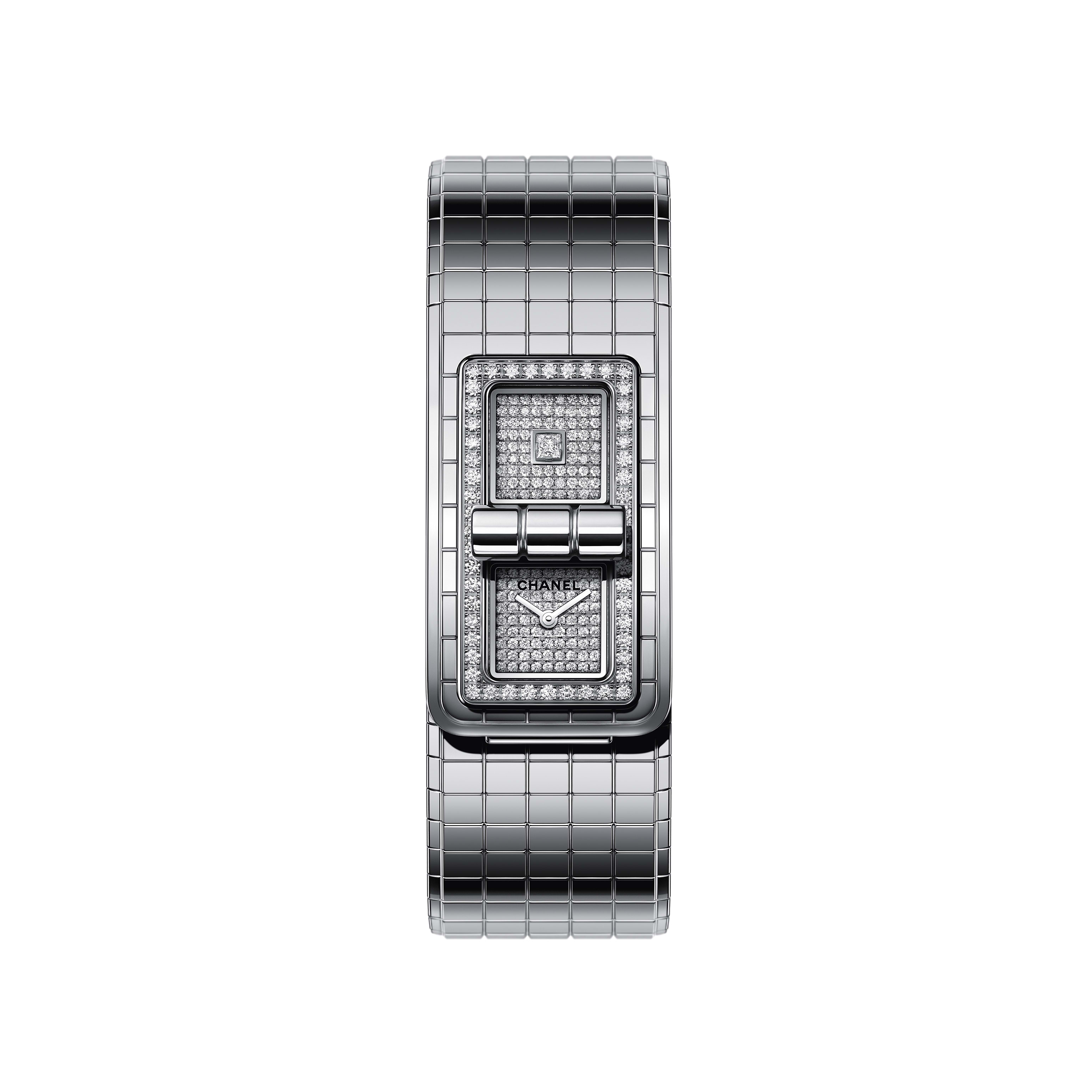 CODE COCO watch - Steel and diamonds - CHANEL - Default view - see standard sized version