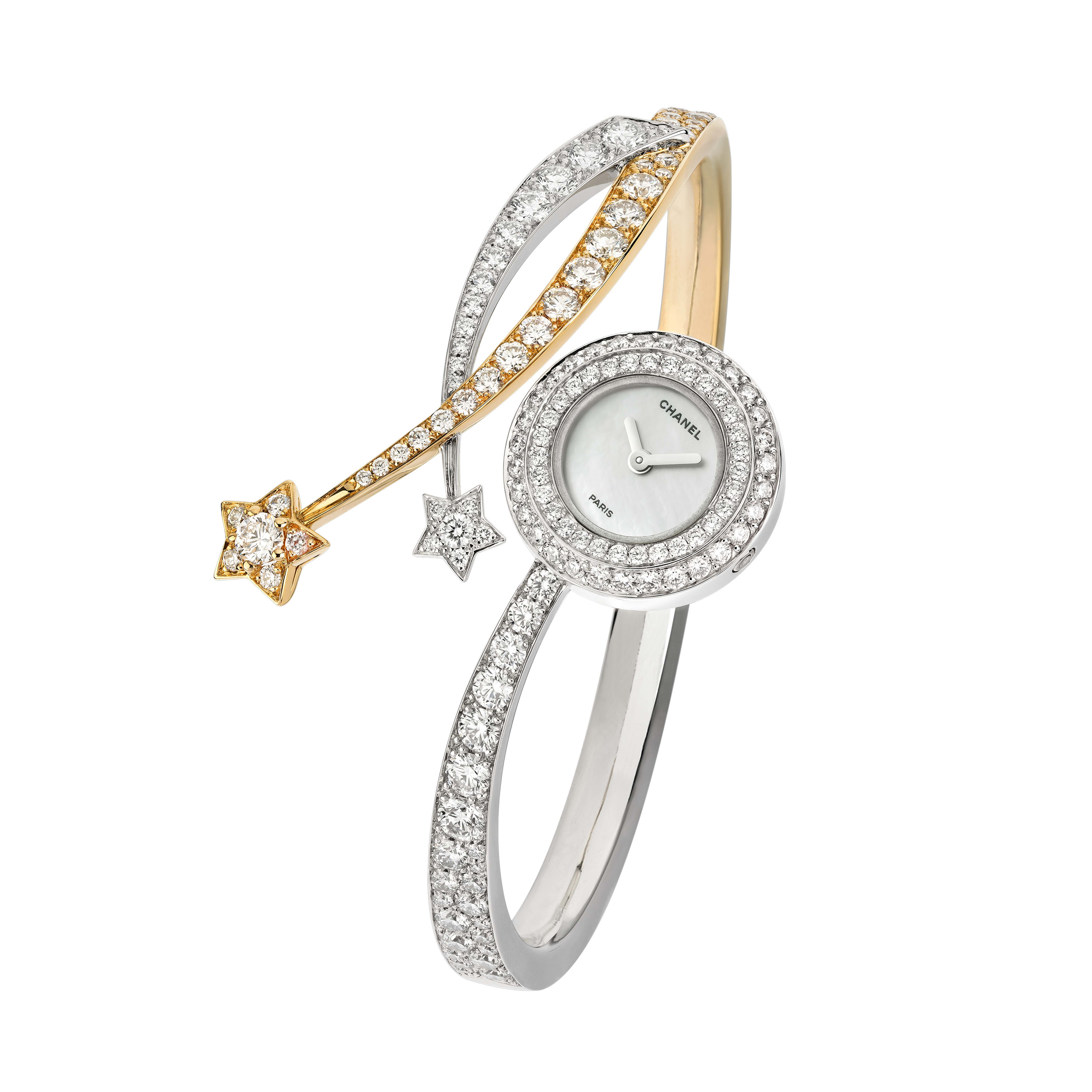 Comète Entrelacs Watch - Comète Entrelacs Watch in yellow gold, white gold and diamonds - CHANEL - Default view - see standard sized version