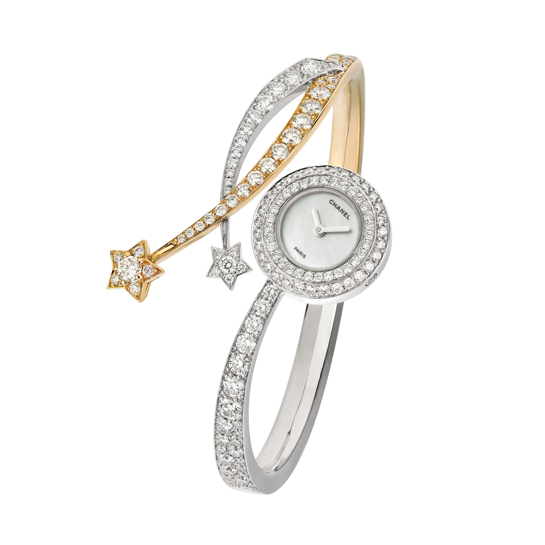 Zegarek Comète Entrelacs - Zegarek Comète Entrelacs z żółtego złota, białego złota i diamentów - CHANEL - Widok domyślny – zobacz w standardowym rozmiarze