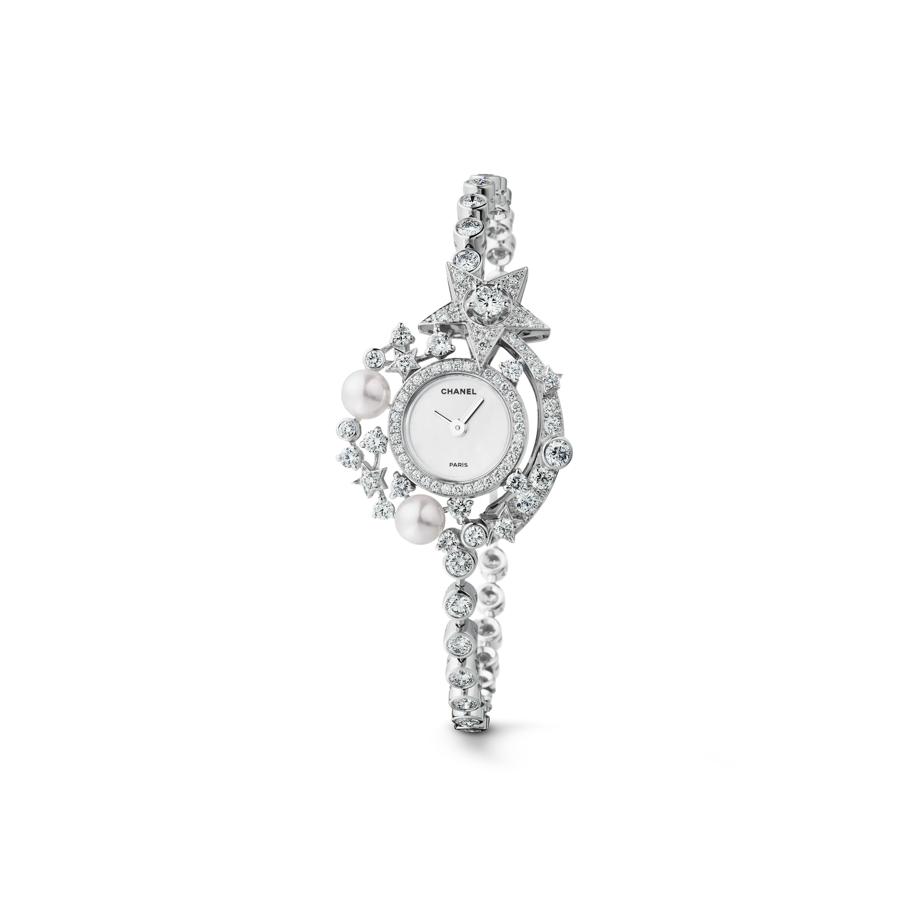 Comète Jewellery Watch - Star motif in 18K white gold, diamonds and cultured pearls - CHANEL - Default view - see standard sized version