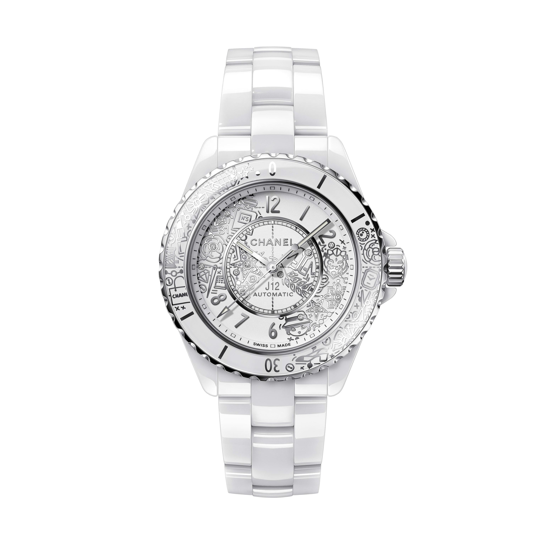 J12·20-horloge - Extreem sterk wit keramiek en staal, gerhodineerd decor - CHANEL - Standaardweergave - zie versie op standaardgrootte