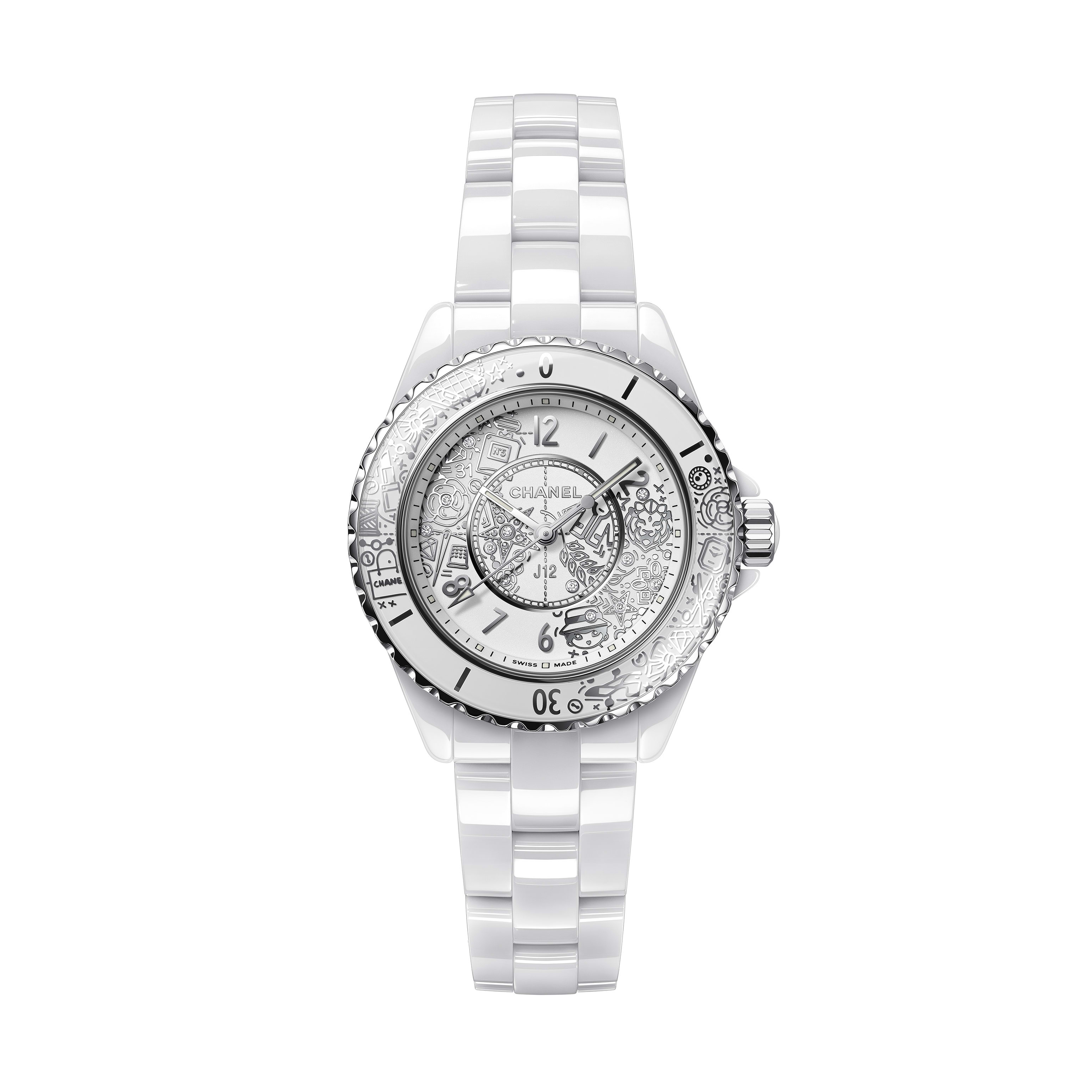 J12·20 Watch - White highly resistant ceramic and steel, rhodium-plated decor - CHANEL - Default view - see standard sized version