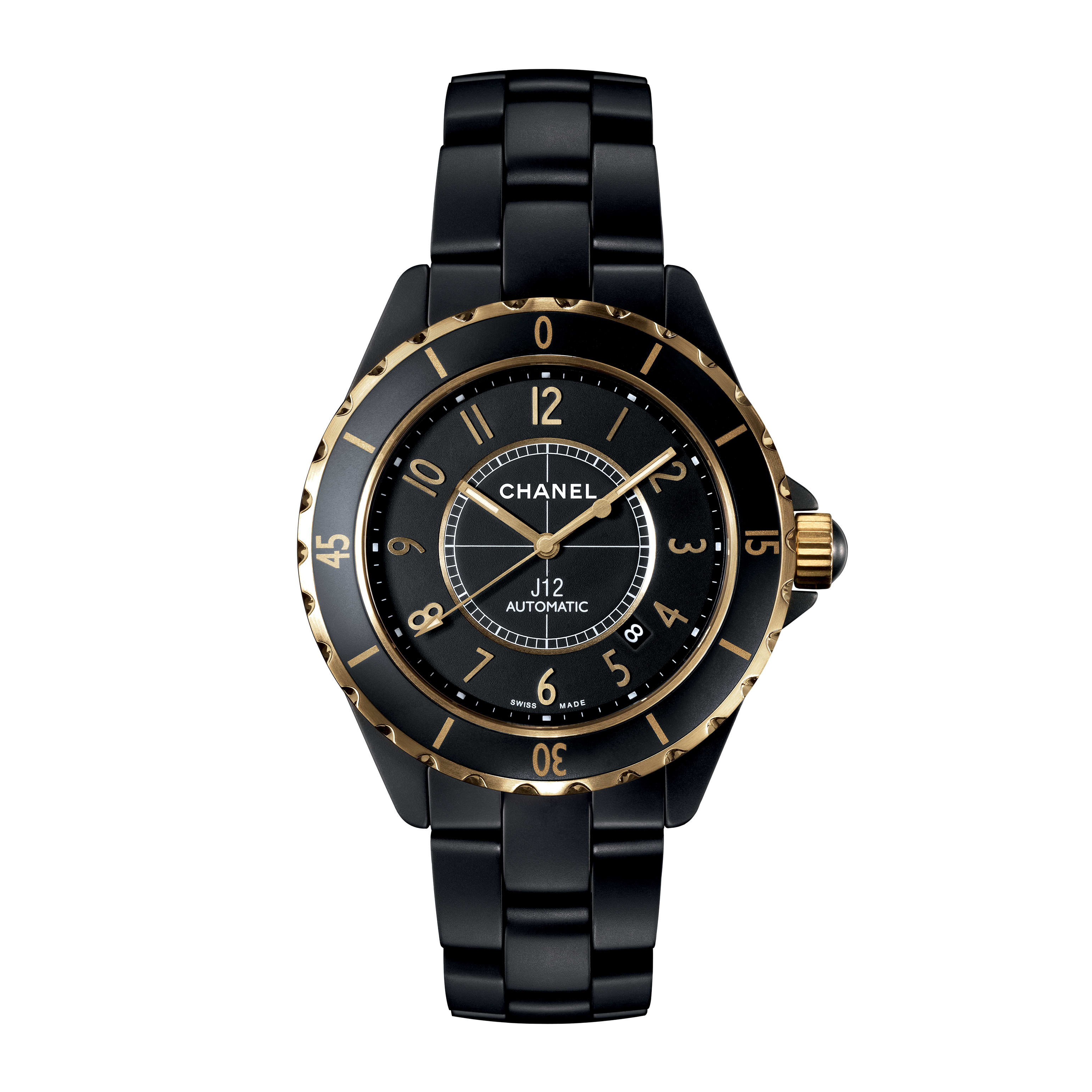 J12 3125 Watch - Yellow gold and matt black highly resistant ceramic with yellow gold numerals - CHANEL - Default view - see standard sized version