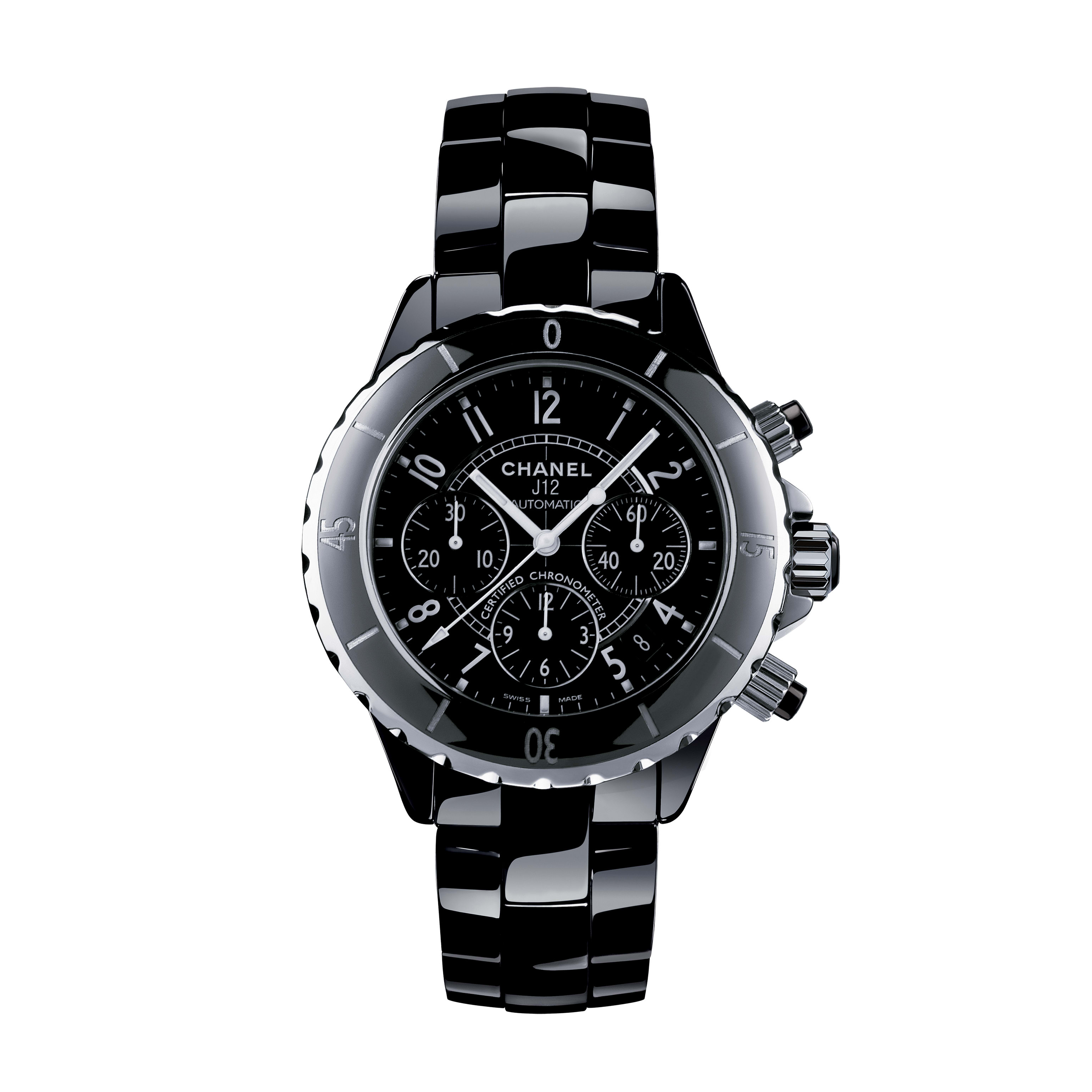 J12 Chronograph Watch, 41 mm - Black highly resistant ceramic and steel - CHANEL - Default view - see standard sized version