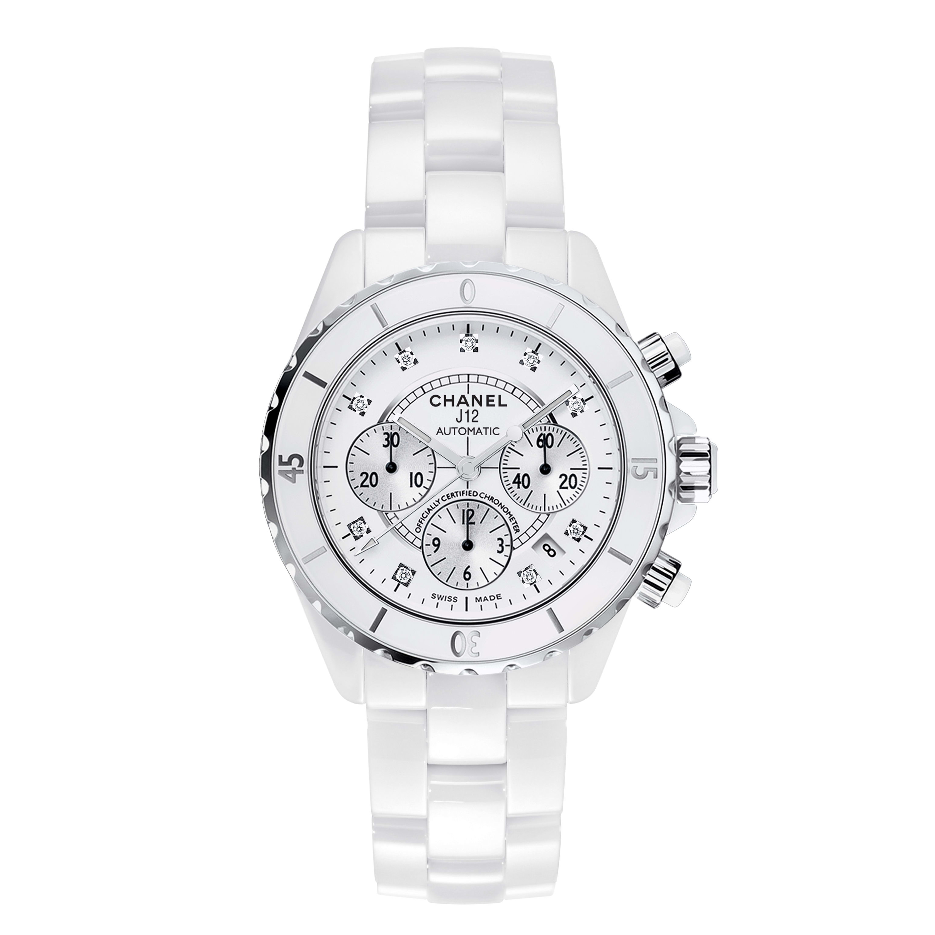 J12 Chronograph Watch, 41 mm - White highly resistant ceramic and steel, diamond indicators - CHANEL - Default view - see standard sized version