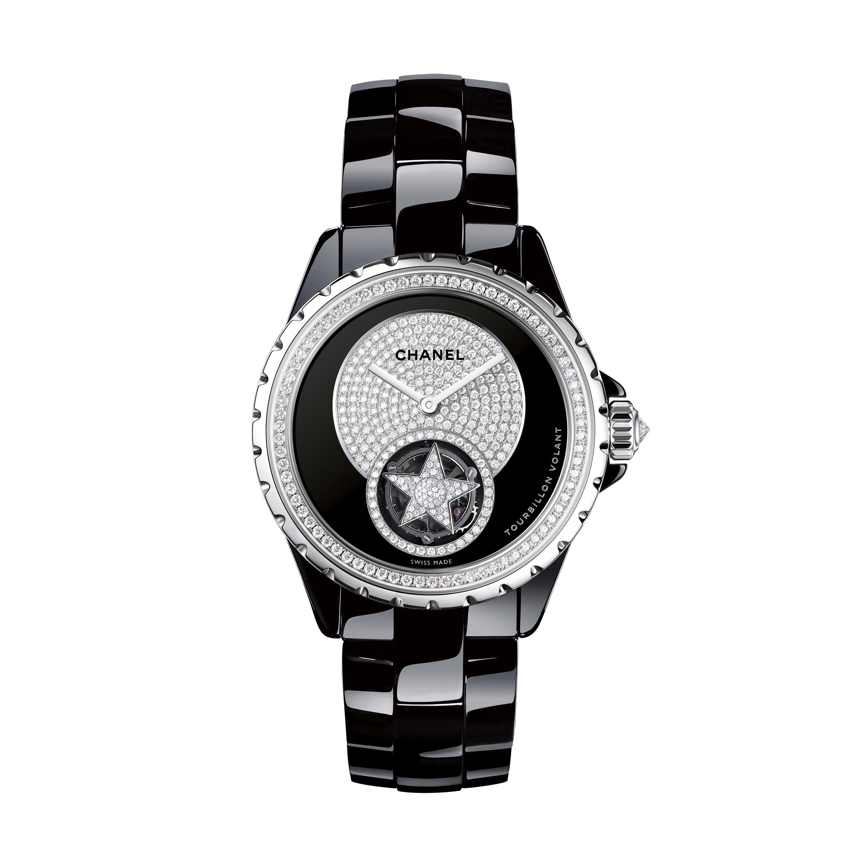 Montre J12 Tourbillon Volant - Céramique haute résistance noire et or blanc, rehaut et centre de cadran sertis de diamants taille brillant - CHANEL - Vue par défaut - voir la version taille standard