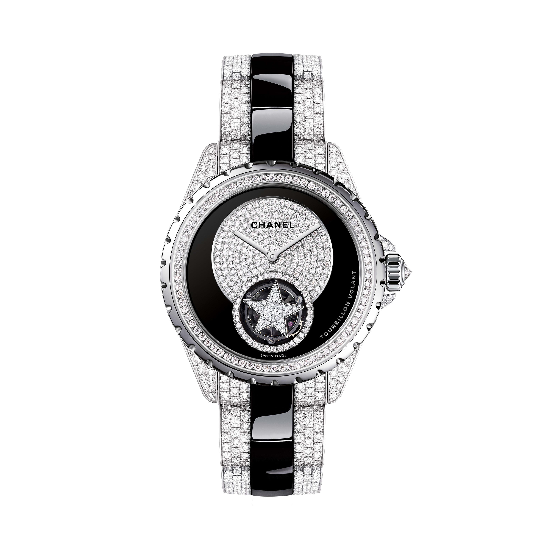 Reloj J12 Tourbillon Volant - Oro blanco y cerámica de alta resistencia negra, realce, centro de la esfera y pulsera engastados con diamantes talla brillante - CHANEL - Vista por defecto - ver la versión tamaño estándar