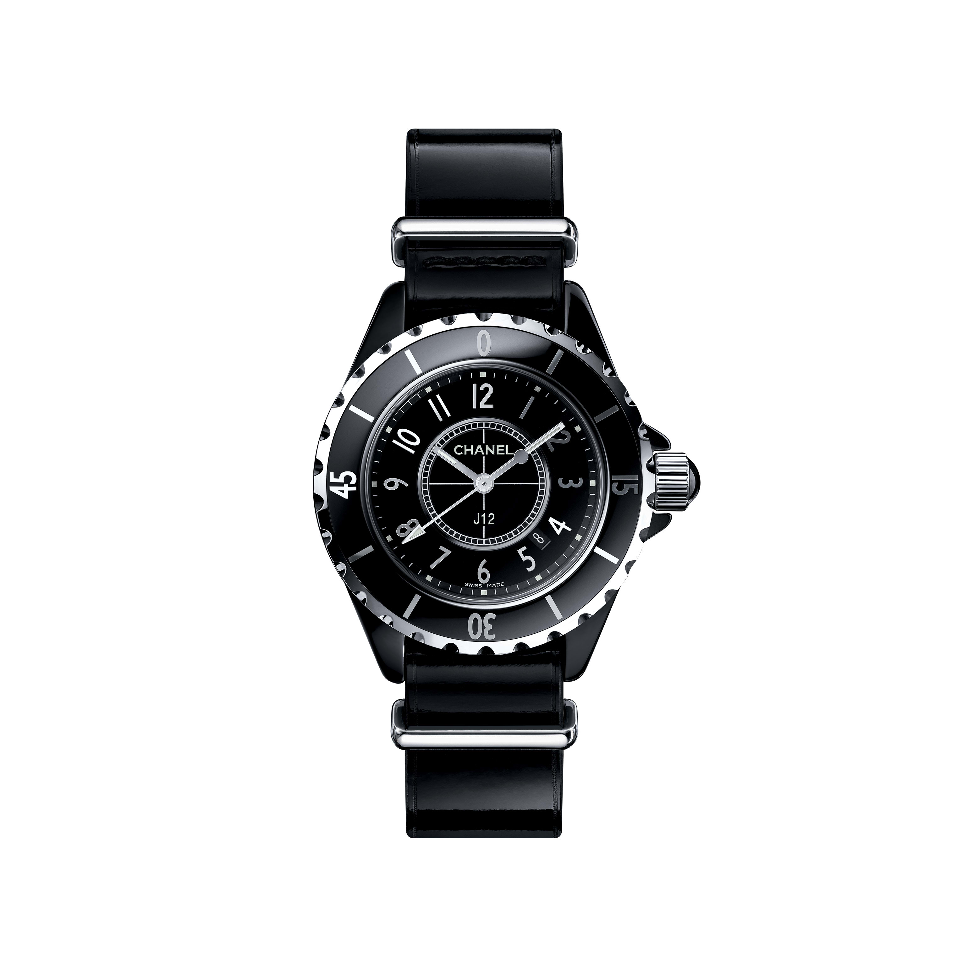 J12-G10 Gloss - Black highly resistant ceramic and steel, patent calfskin and nylon straps - CHANEL - Default view - see standard sized version