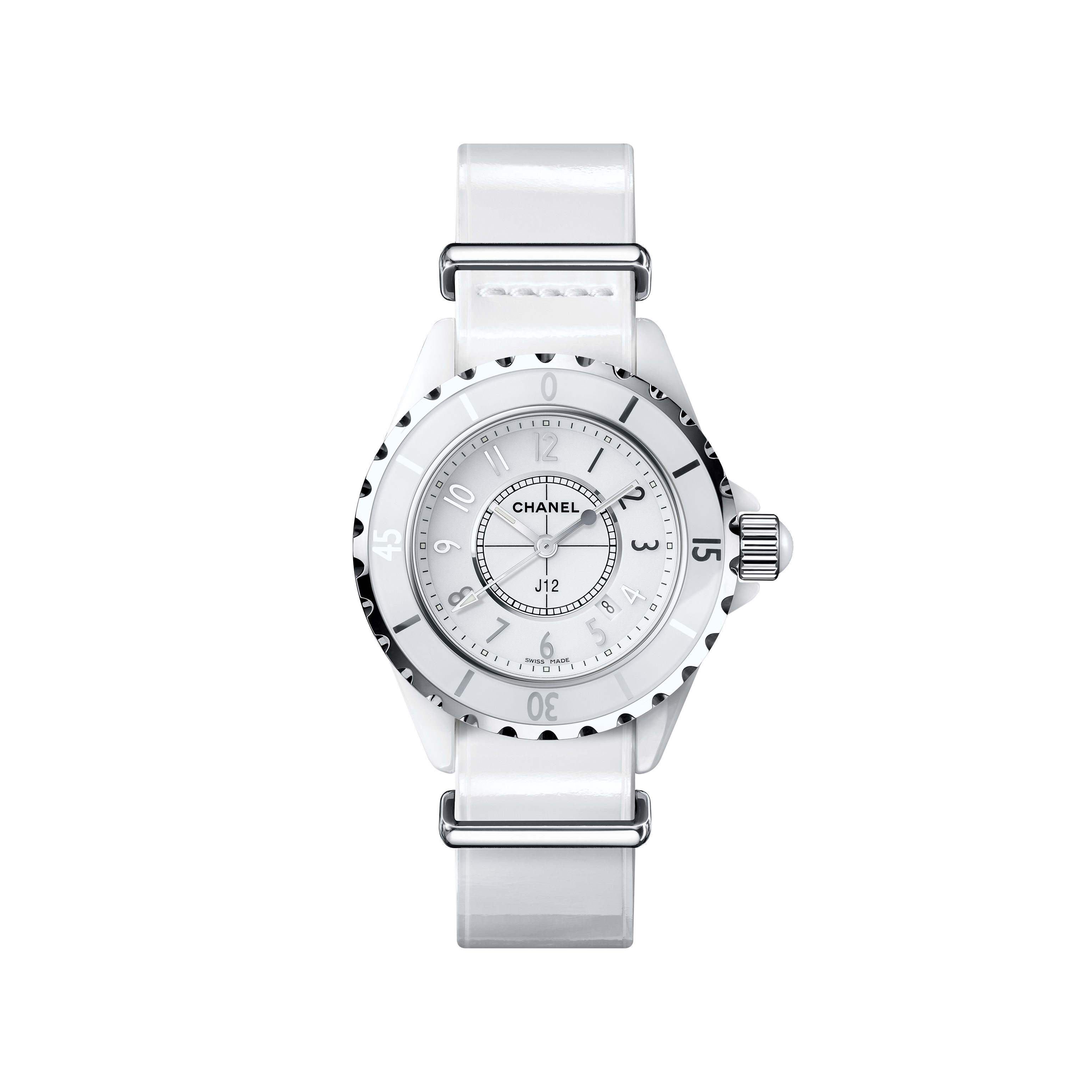 J12-G10 Gloss Watch - White highly-resistant ceramic and steel, patent calfskin and nylon straps - CHANEL - Default view - see standard sized version