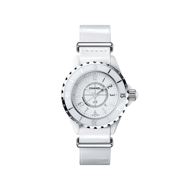 Zegarek J12-G10 Gloss - Biała, niezwykle wytrzymała ceramika i stal, paski z patentowej skóry cielęcej i z nylonu - CHANEL - Widok domyślny – zobacz w standardowym rozmiarze