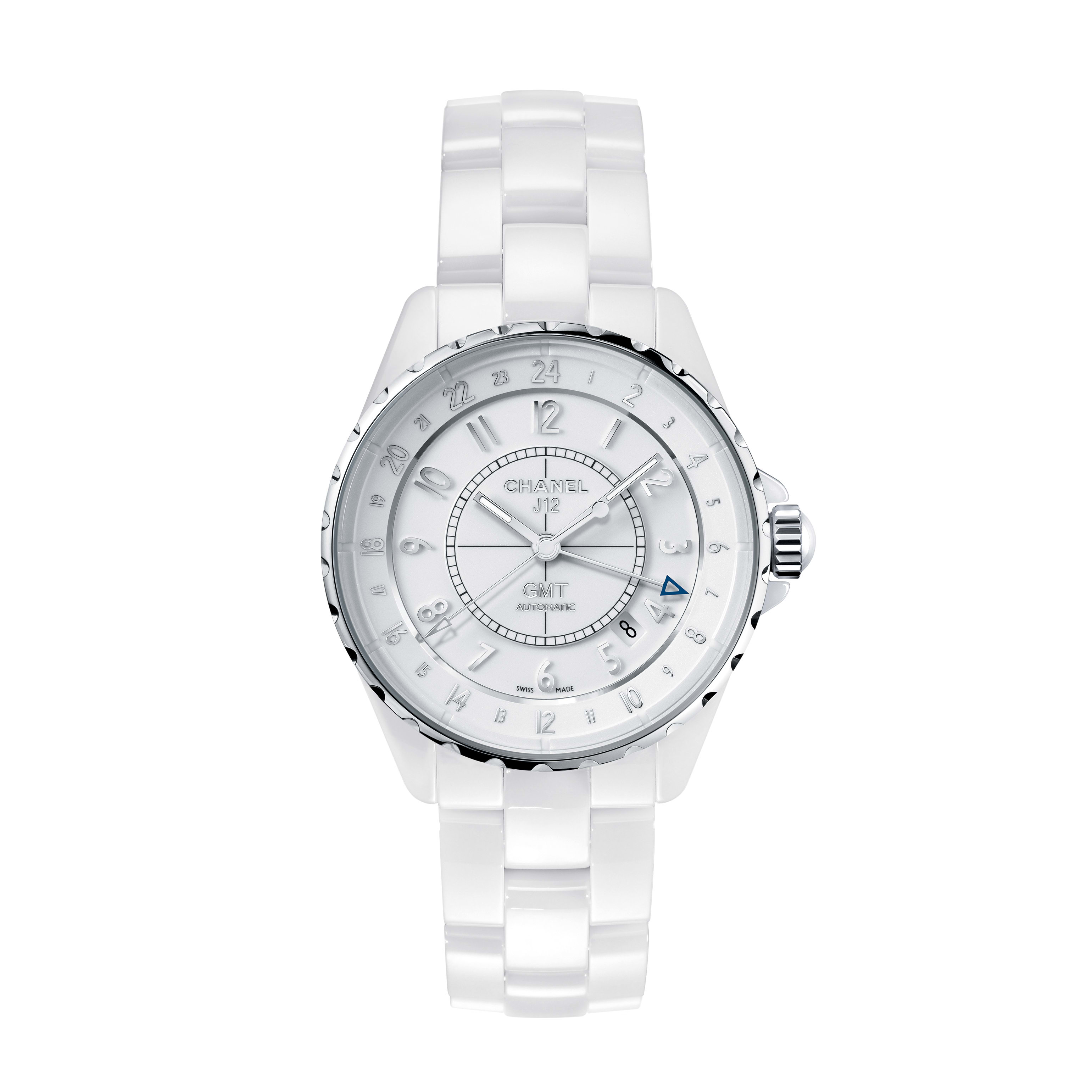 J12 GMT - White highly resistant ceramic and steel - CHANEL - Default view - see standard sized version