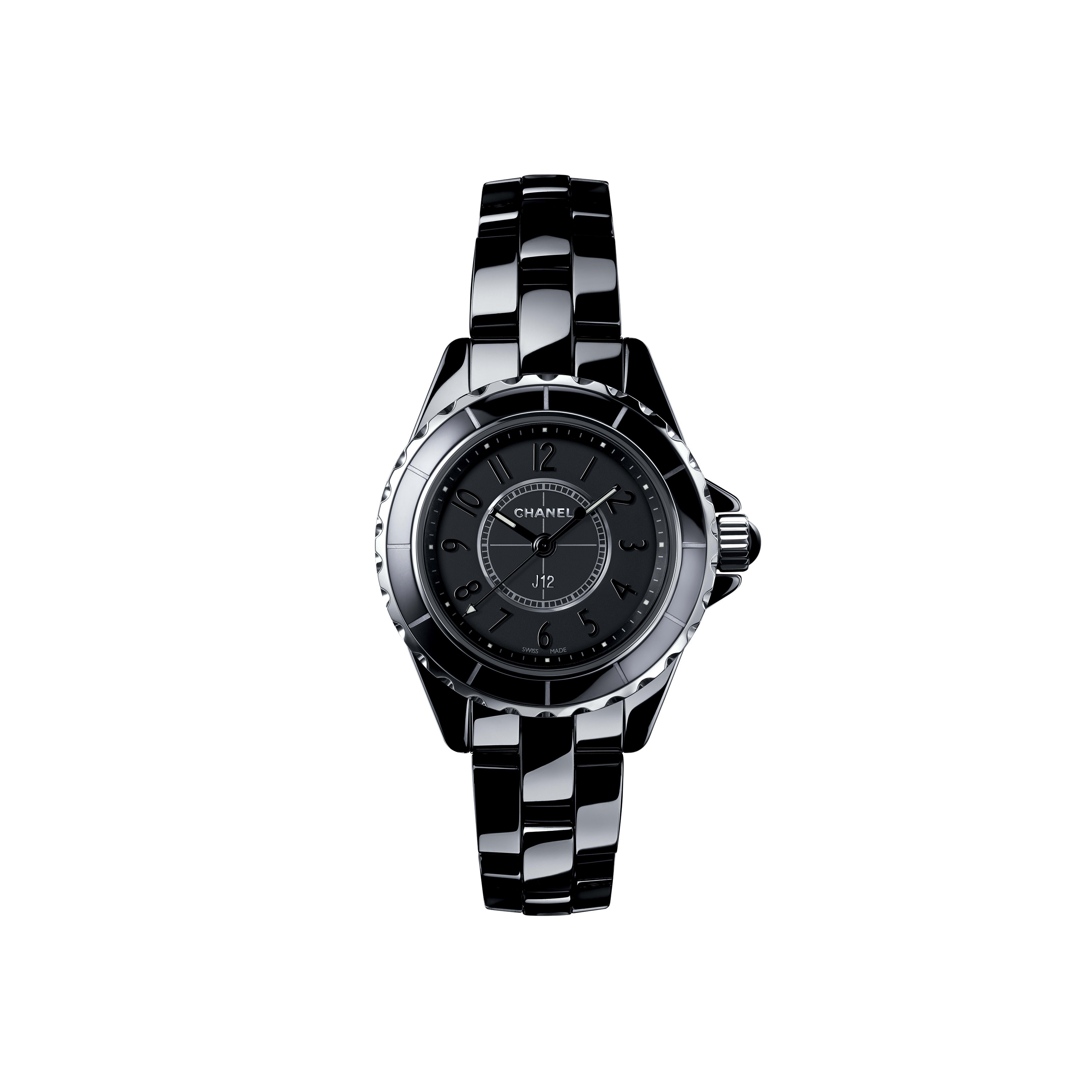 J12 Intense Black - Black highly resistant ceramic and steel, black numerals - CHANEL - Default view - see standard sized version