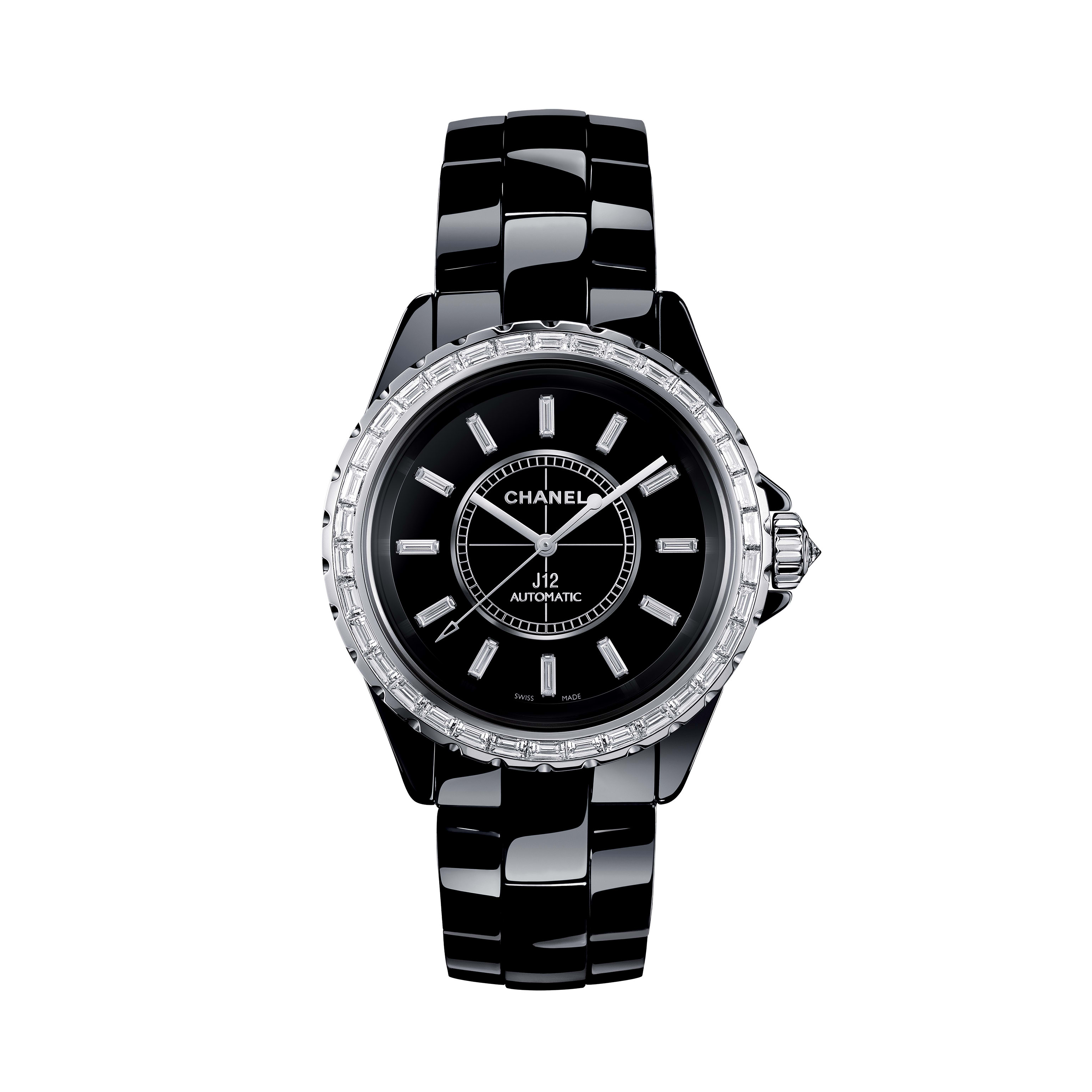 J12 Jewellery Watch, 38 mm - Black highly resistant ceramic and white gold, baguette-cut diamond bezel and indicators - CHANEL - Default view - see standard sized version