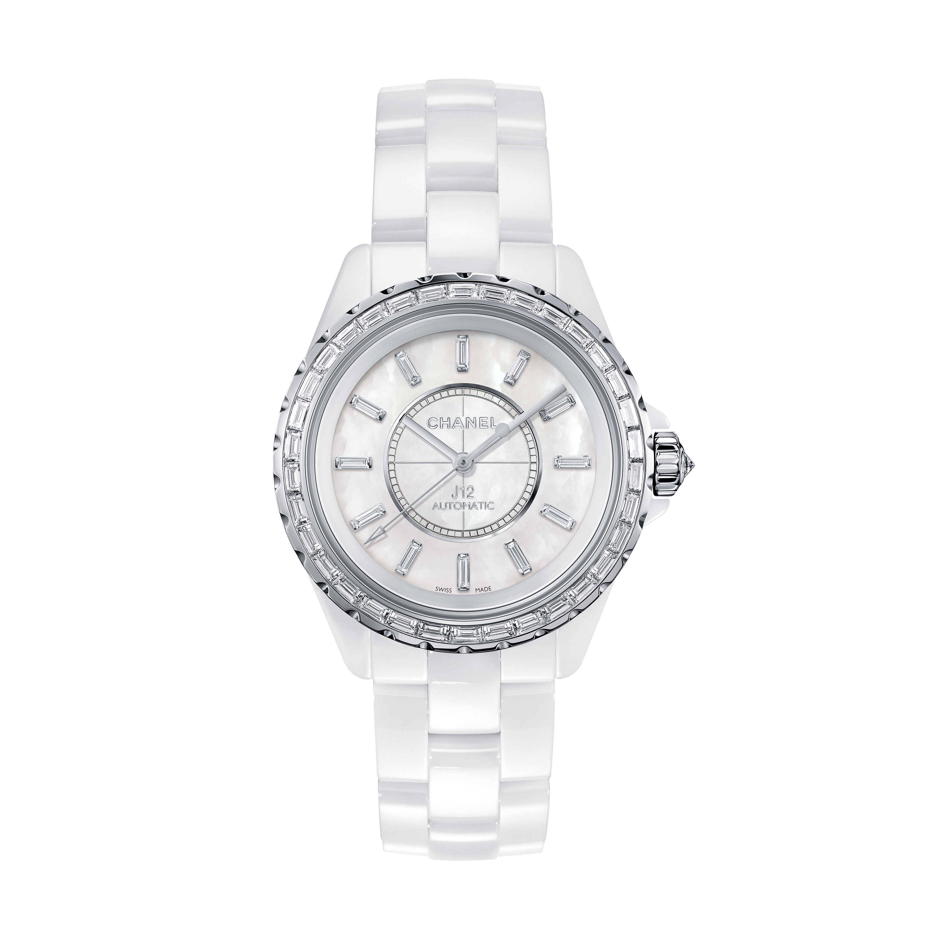 J12 Jewellery Watch - White highly resistant ceramic and white gold, baguette-cut diamond bezel and indicators - CHANEL - Default view - see standard sized version