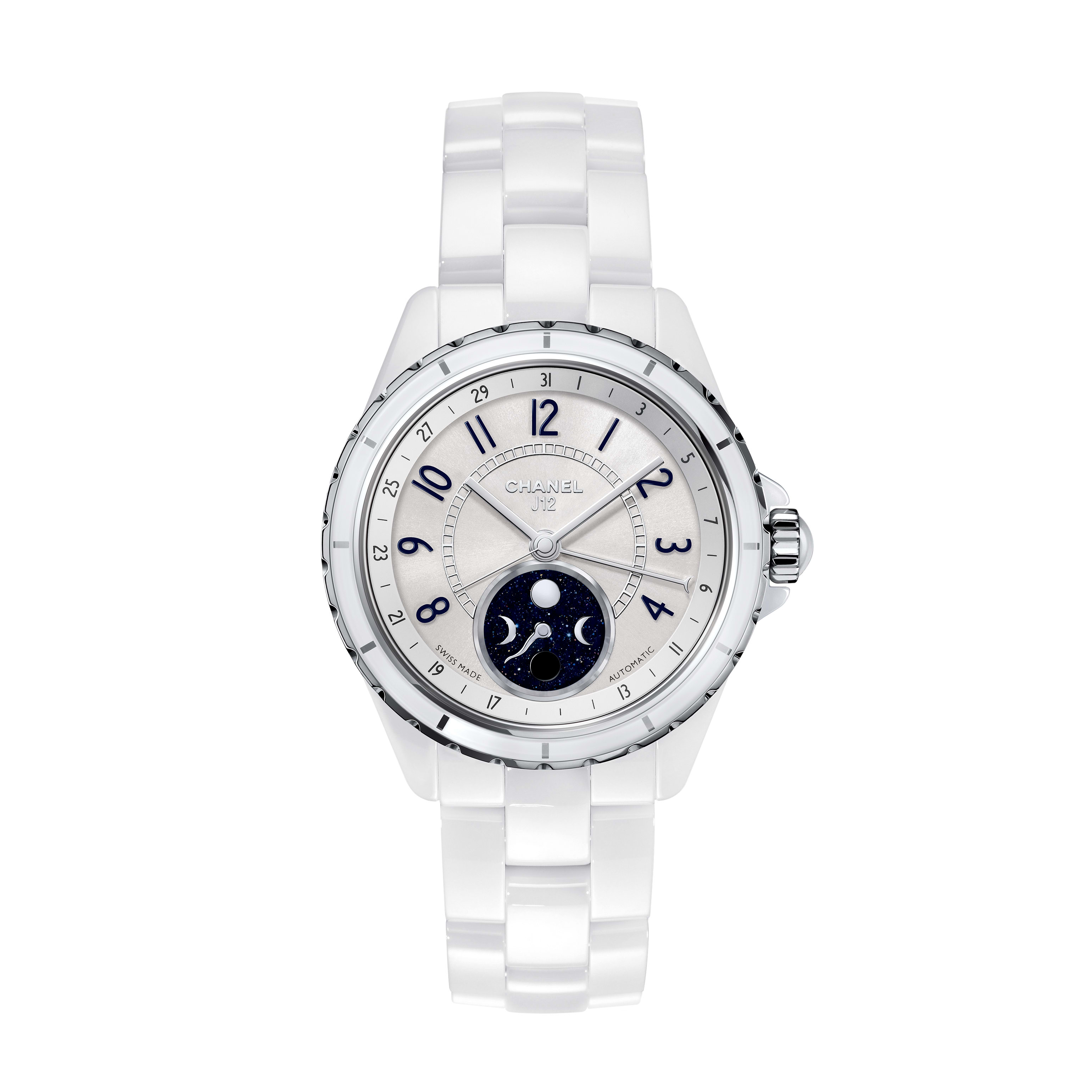 J12 Moonphase Watch, 38 mm - White highly resistant ceramic and steel - CHANEL - Default view - see standard sized version