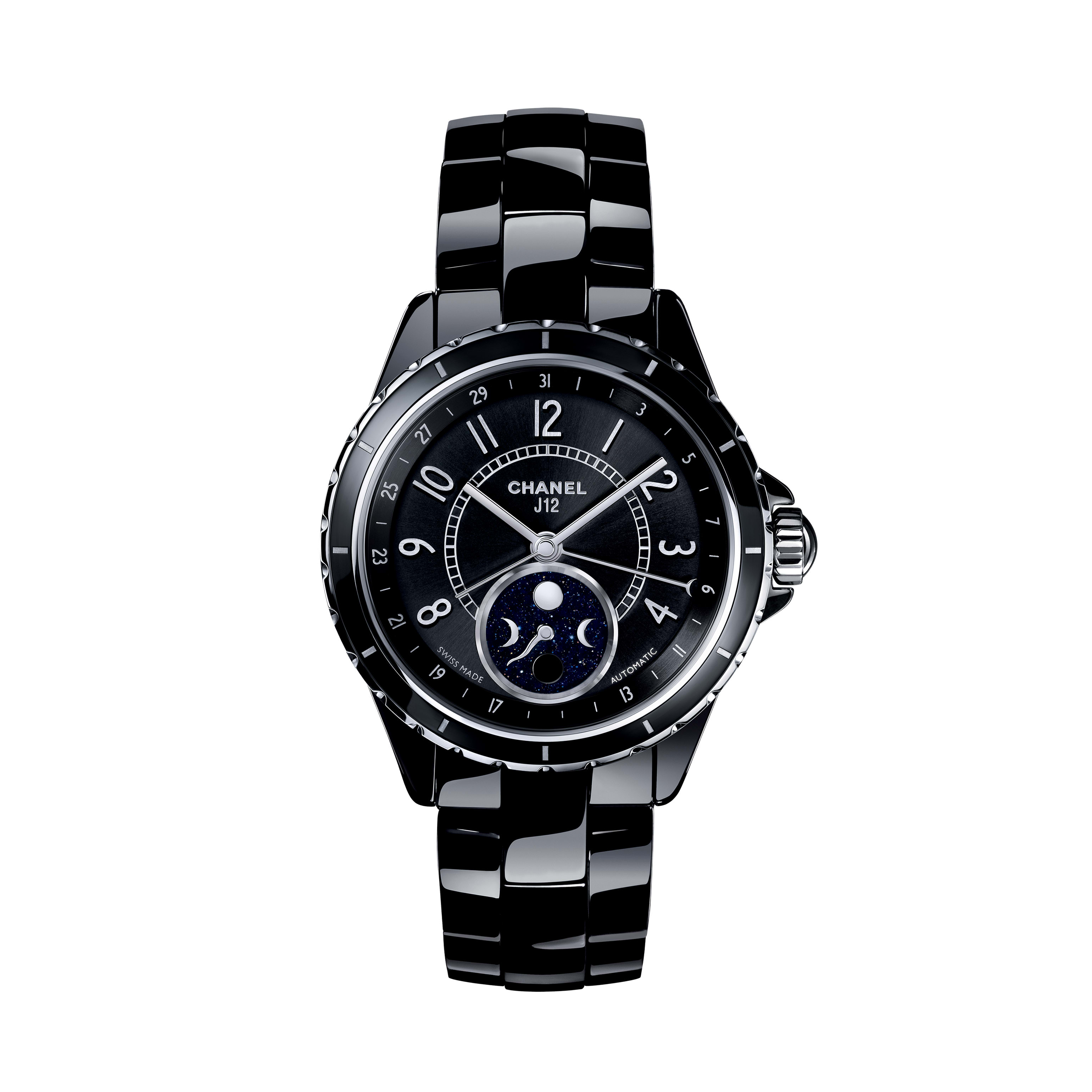 J12 Moon phase - Black highly resistant ceramic and steel - CHANEL - Default view - see standard sized version