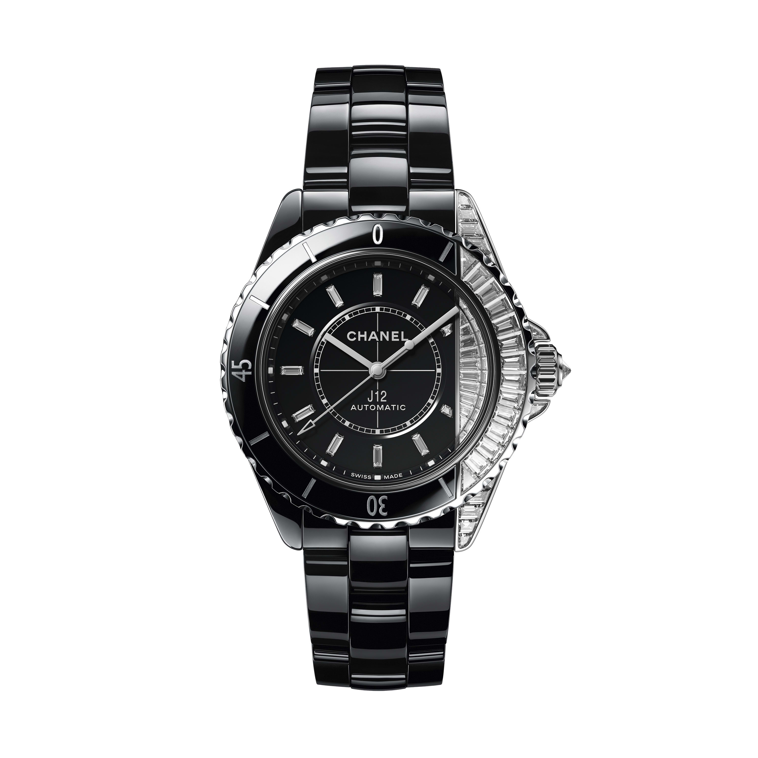 J12 Paradoxe Watch Caliber 12.1, 38 mm - Black highly resistant ceramic and 18K white gold case, bezel, dial set with baguette-cut diamonds - CHANEL - Default view - see standard sized version