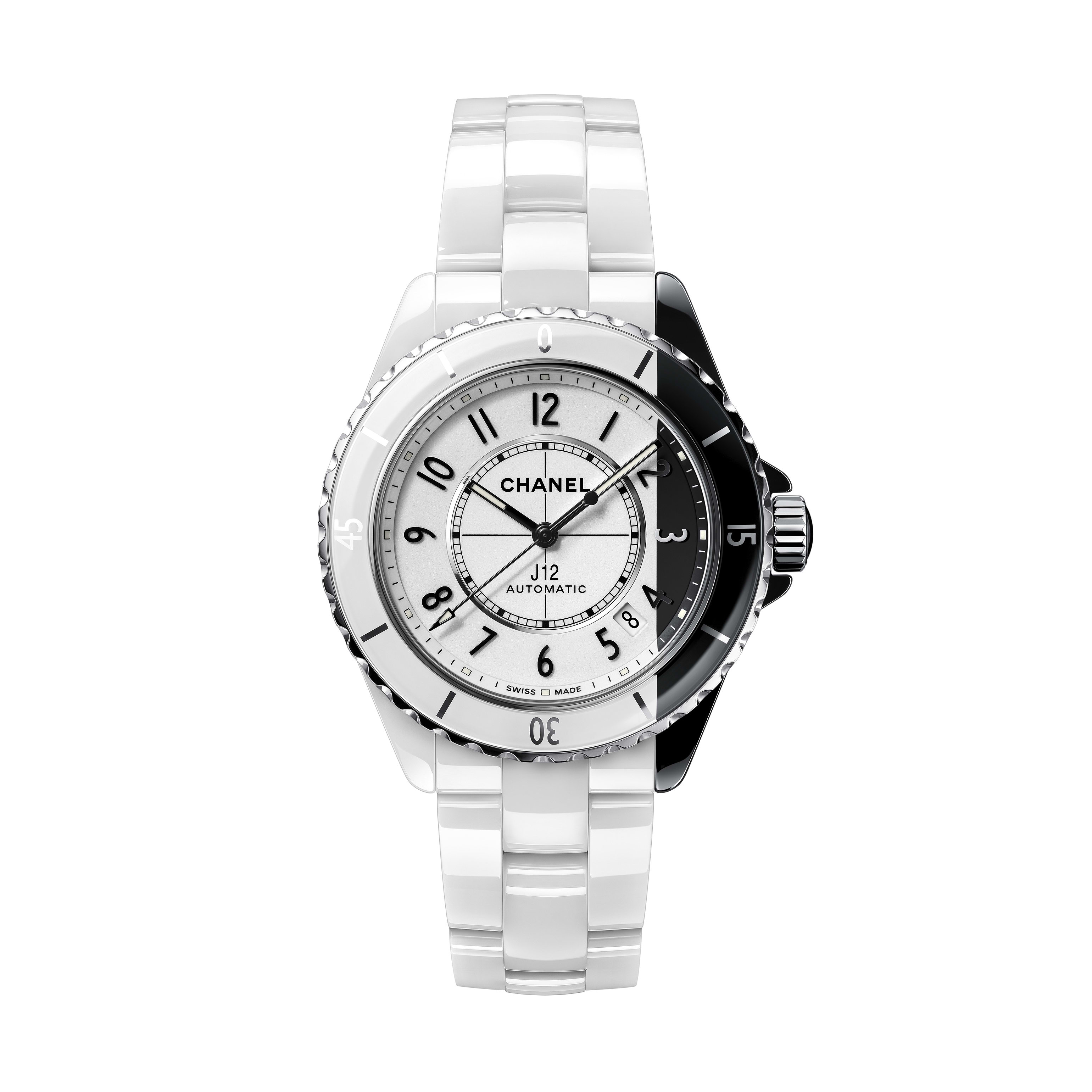 J12 Paradoxe Watch Calibre 12.1, 38 mm - White and black highly resistant ceramic and steel - CHANEL - Default view - see standard sized version
