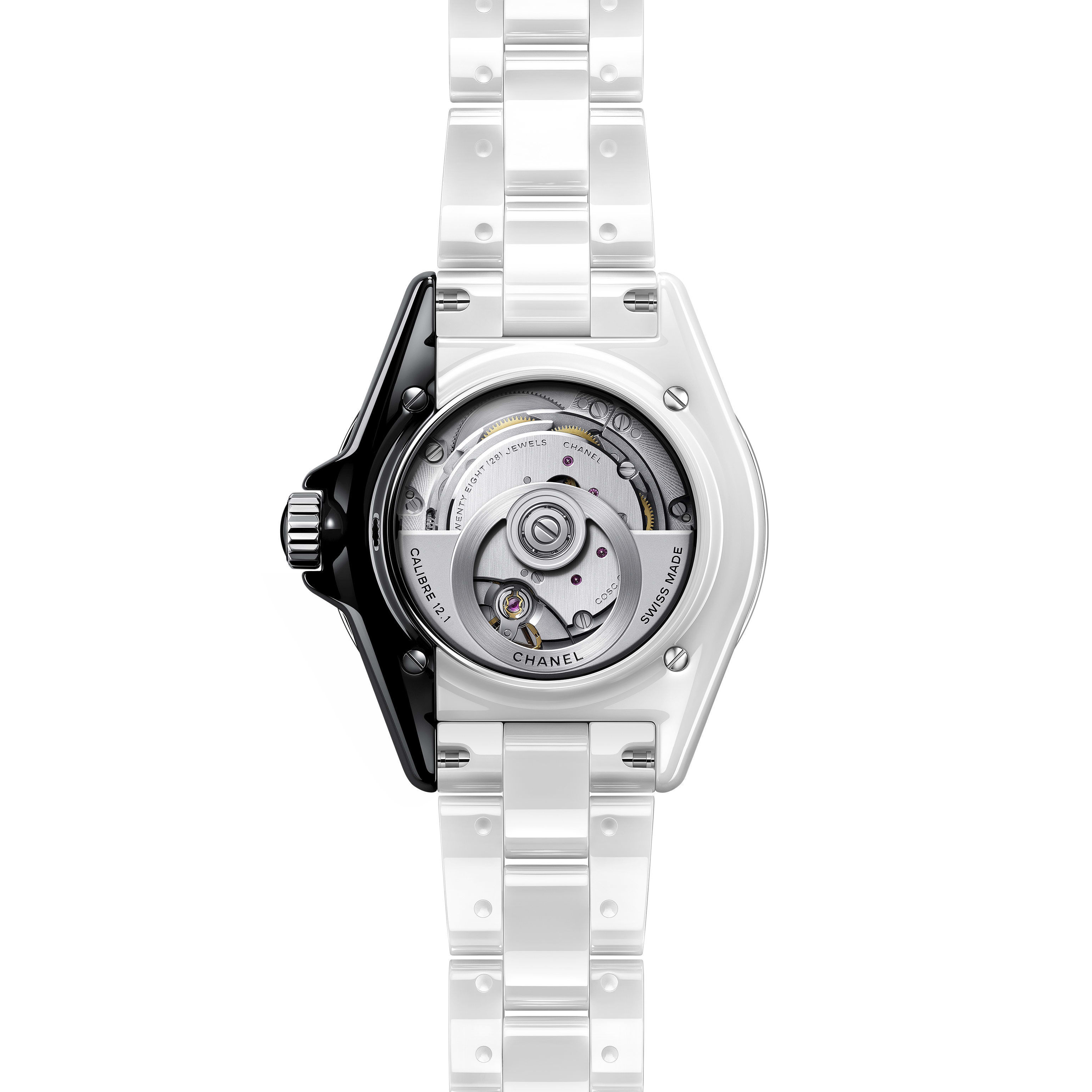 J12 Paradoxe Watch Calibre 12.1, 38 mm - White and black highly resistant ceramic and steel - CHANEL - Other view - see standard sized version