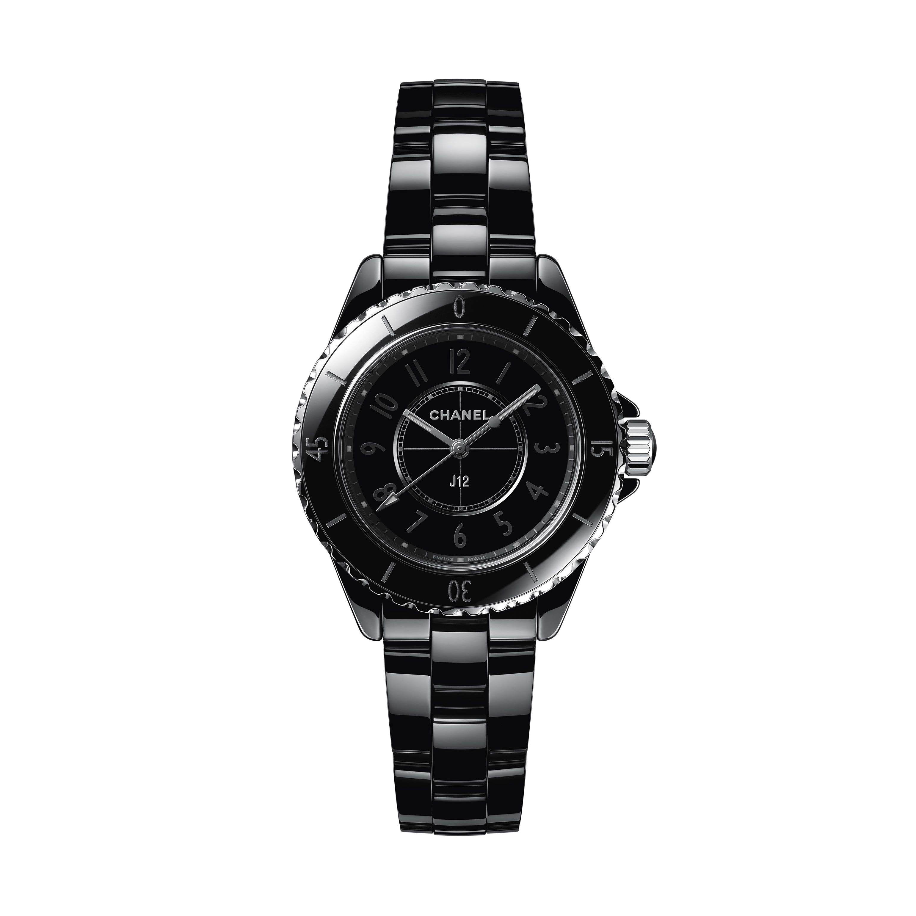 J12 Phantom Watch, 33 mm - Black highly resistant ceramic and steel - CHANEL - Default view - see standard sized version
