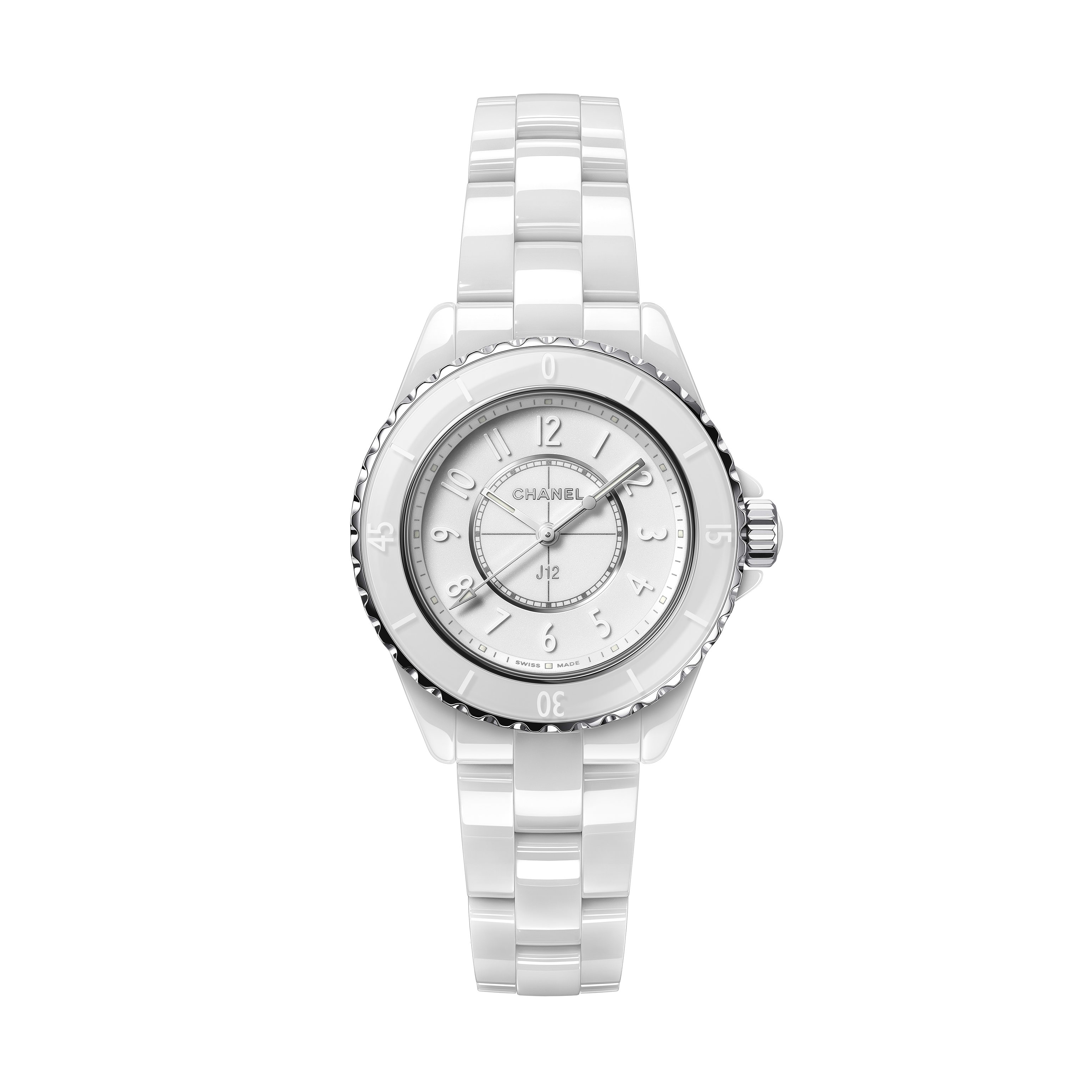 J12 Phantom Watch, 33 mm - White highly resistant ceramic and steel - CHANEL - Default view - see standard sized version