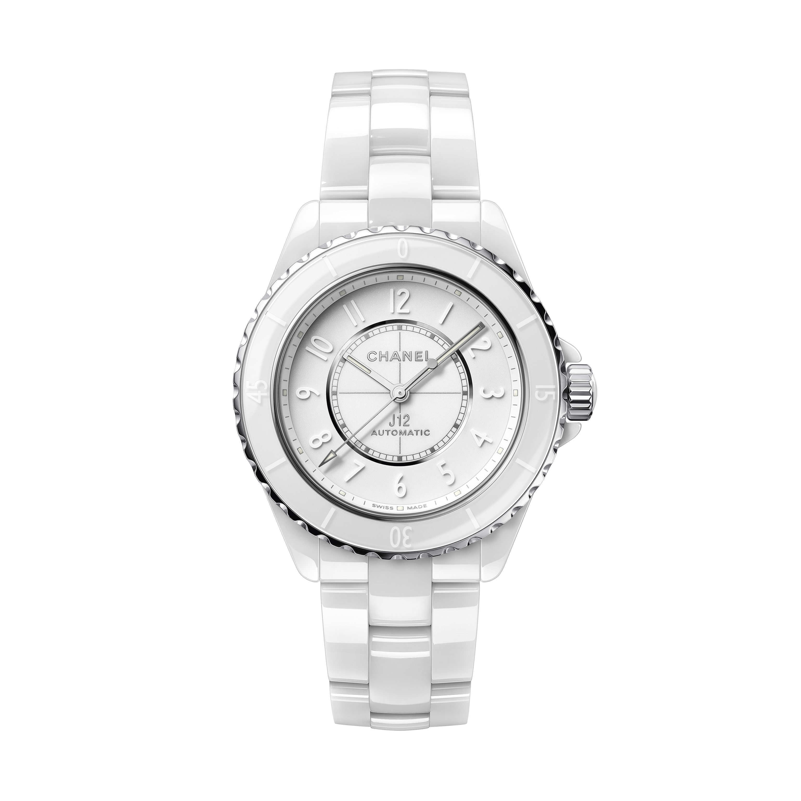 J12 Phantom Watch Calibre 12.1, 38 mm - White highly resistant ceramic and steel - CHANEL - Default view - see standard sized version
