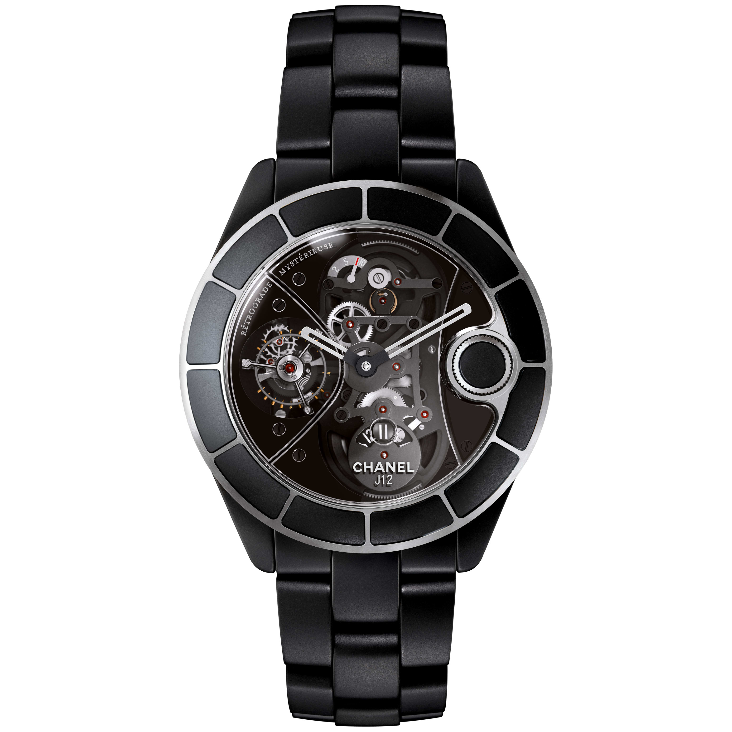 J12 RMT Watch - Matt black highly resistant ceramic, retrograde mysterieuse calibre and APRP for CHANEL tourbillon, retractable crown - CHANEL - Default view - see standard sized version