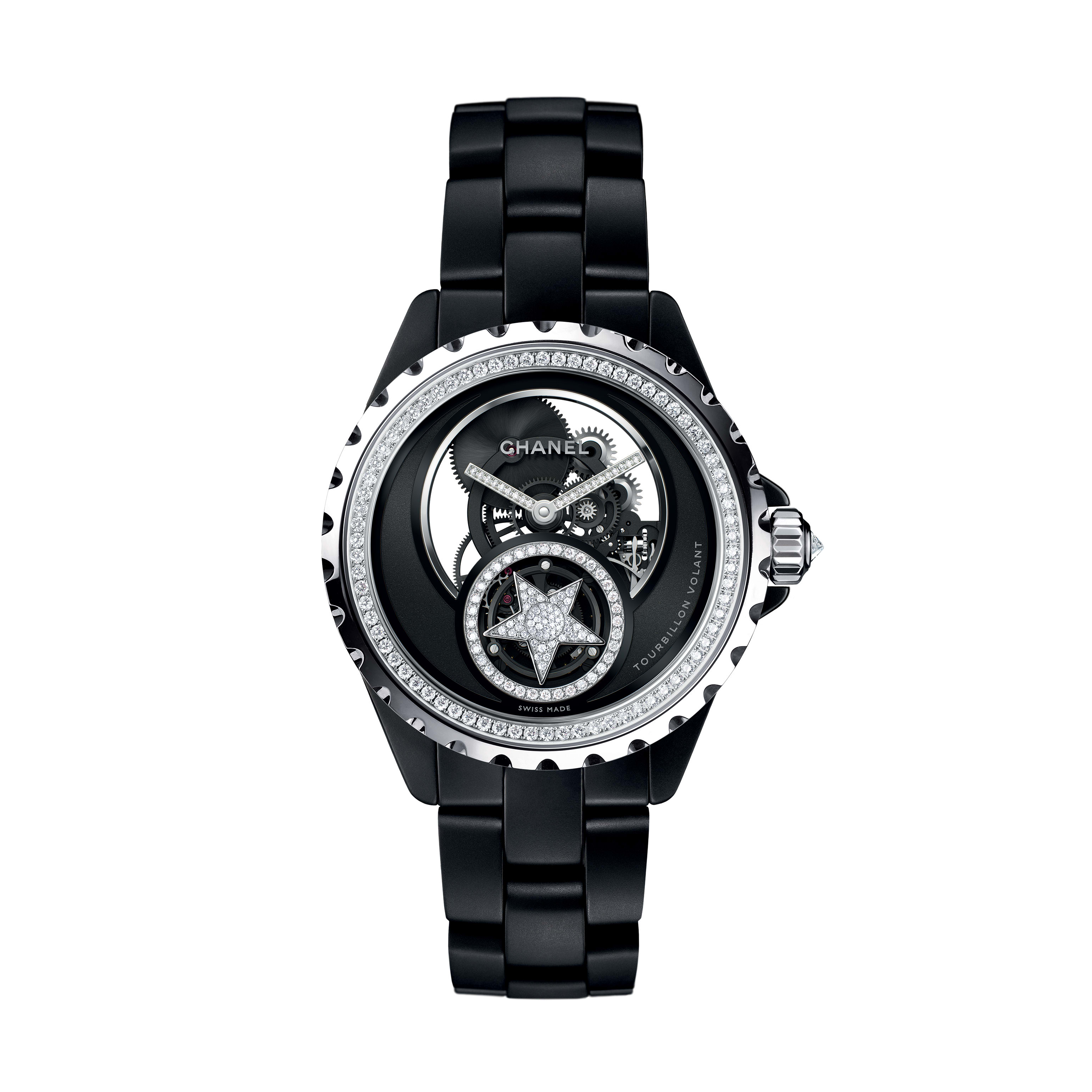 J12 Skeleton Flying Tourbillon Watch, 38 mm - White gold and matt black highly resistant ceramic, bezel and crown set with diamonds, openwork dial - CHANEL - Default view - see standard sized version